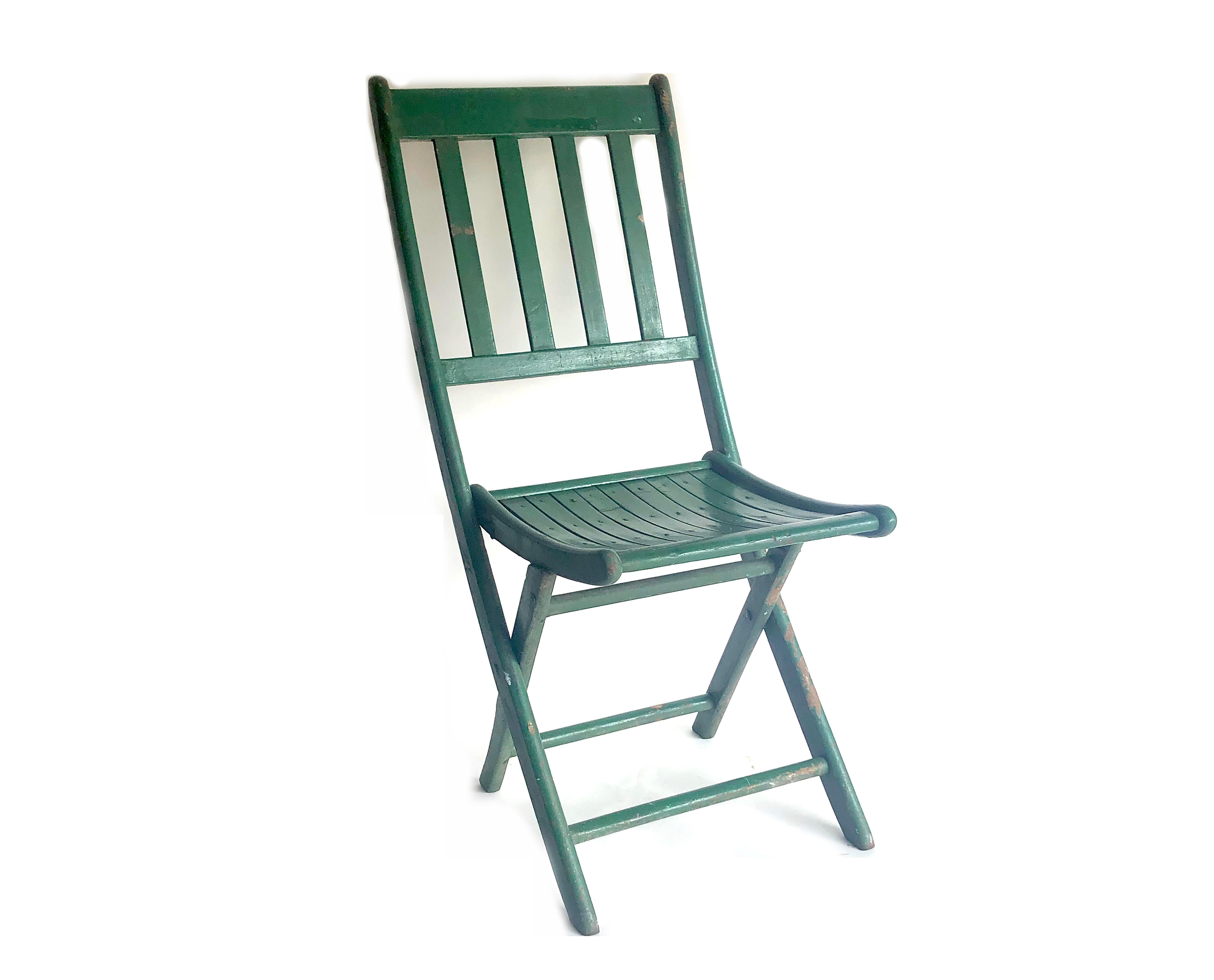 1950s Vintage Green Wood Slat Seat Folding Chair