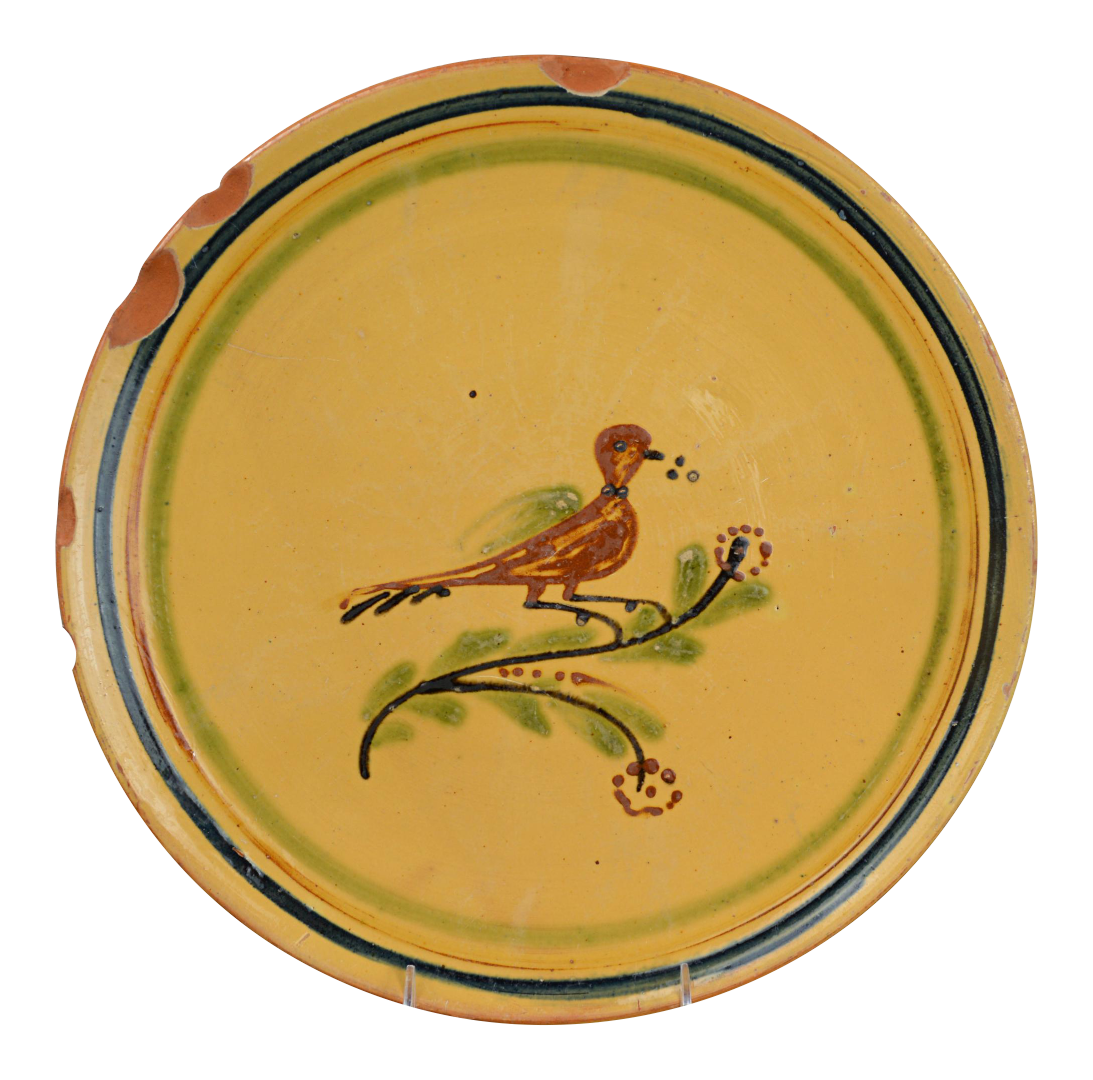 Hertz Pottery French Terracotta Charger With Bird   Chairish
