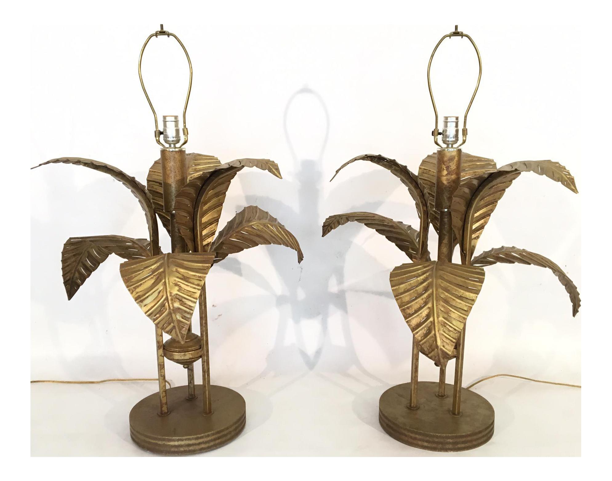 Large Tole Gold Gilt Sculptural Palm Tree Leaf Table Lamps