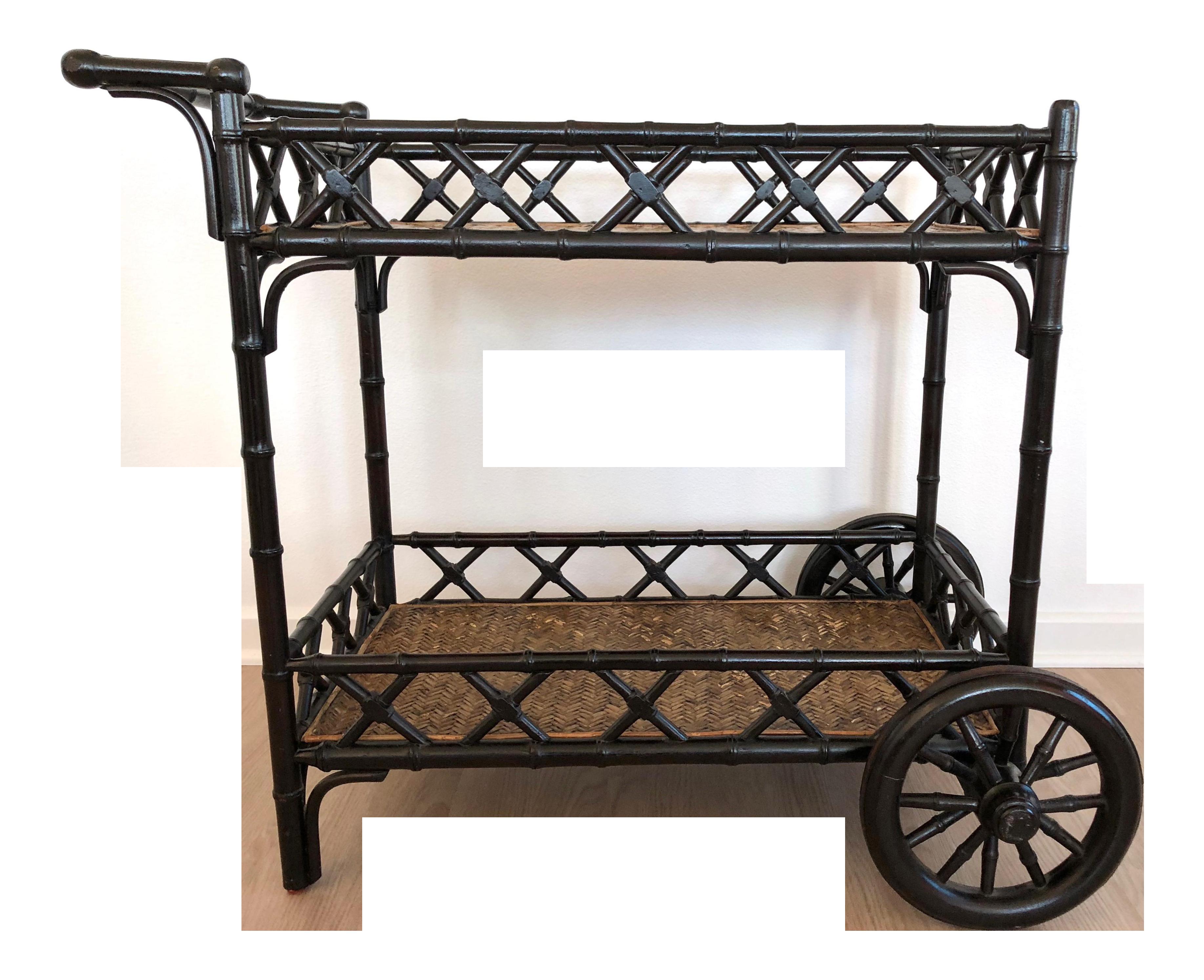 Boho Chic Black Bamboo Bar Cart Chairish