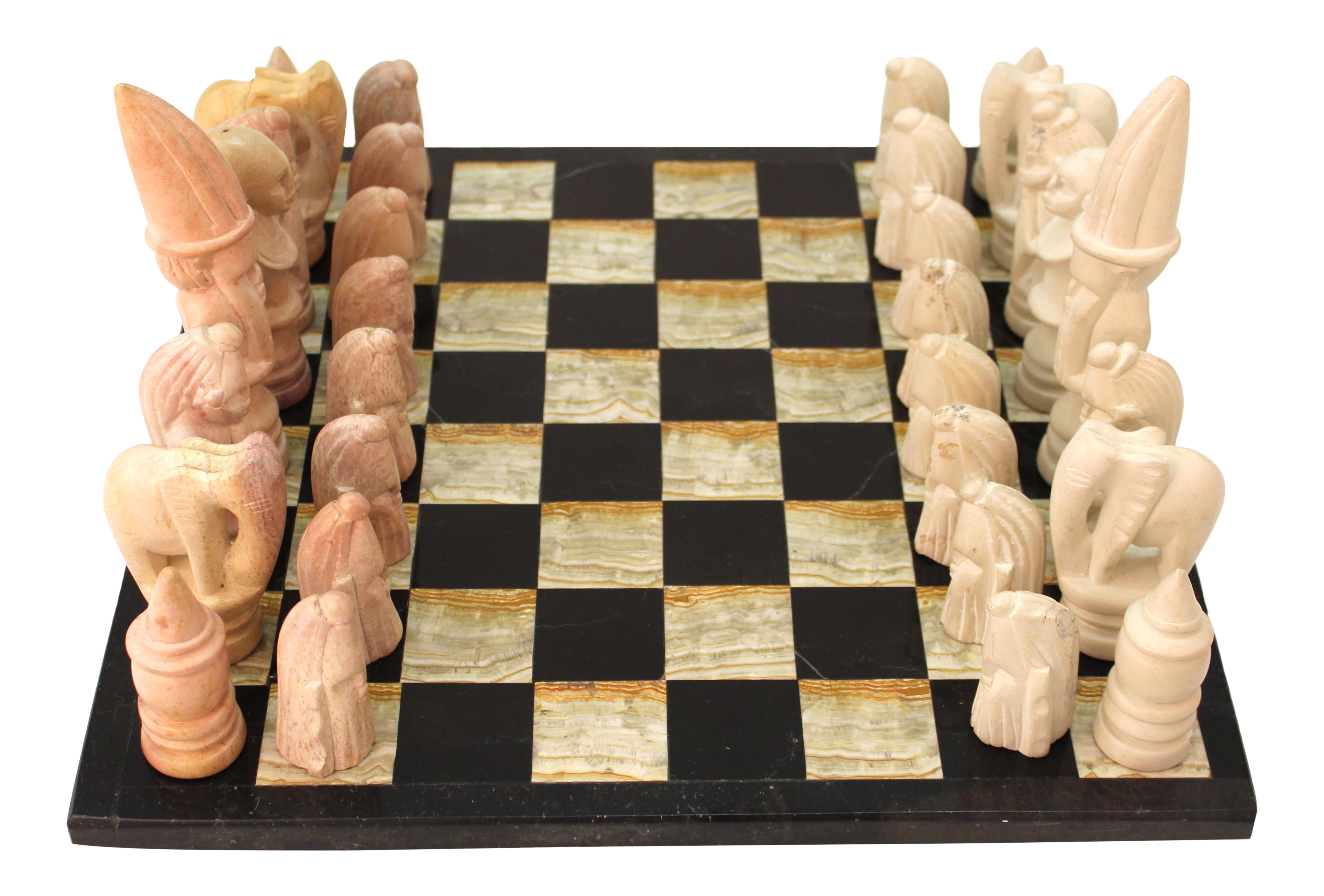 Modern Chess Set With African Tribal Inspired Pieces Chairish