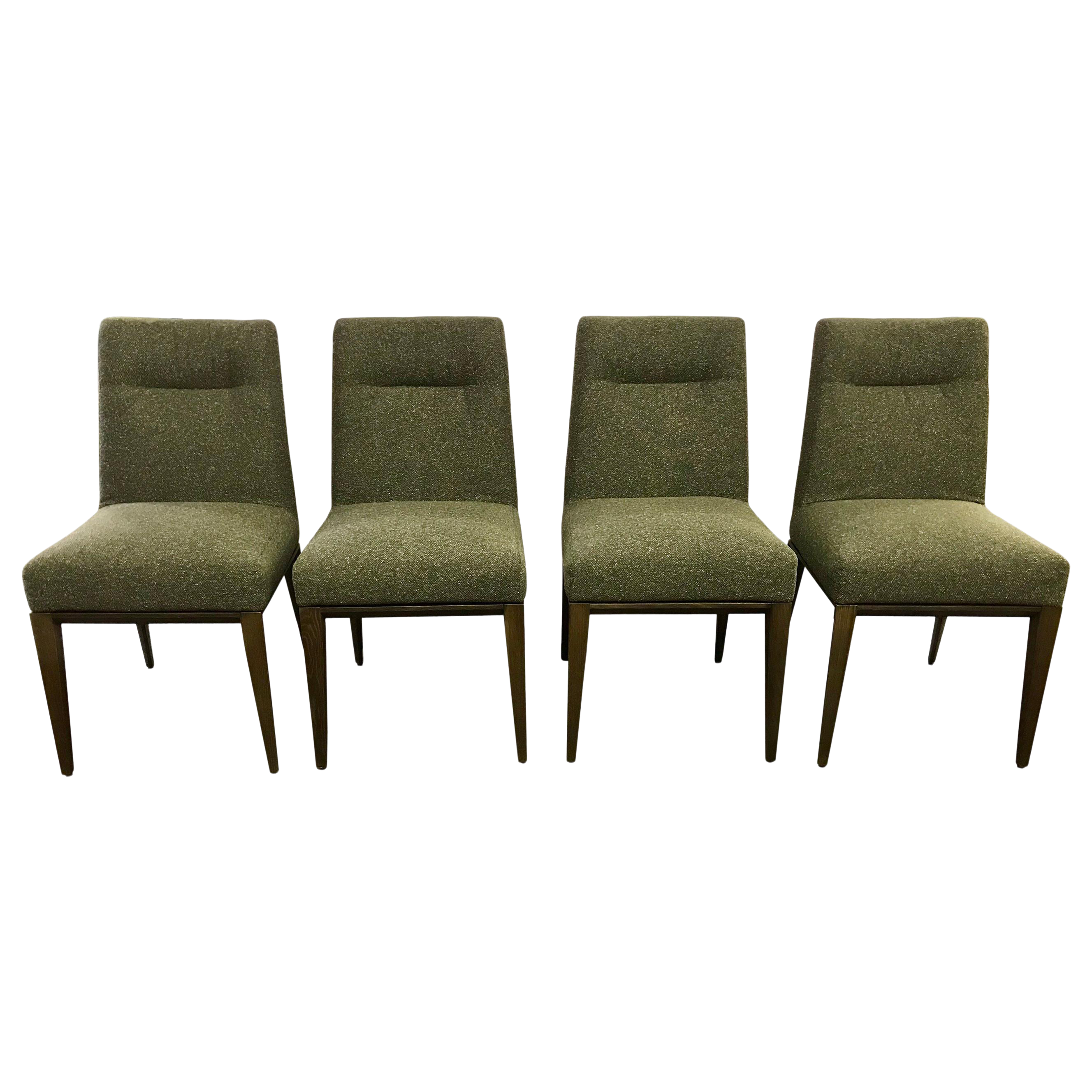 Astonishing Set Of Four Calligaris Italy Olive Tweed Weave Upholstered Dining Chairs Lamtechconsult Wood Chair Design Ideas Lamtechconsultcom