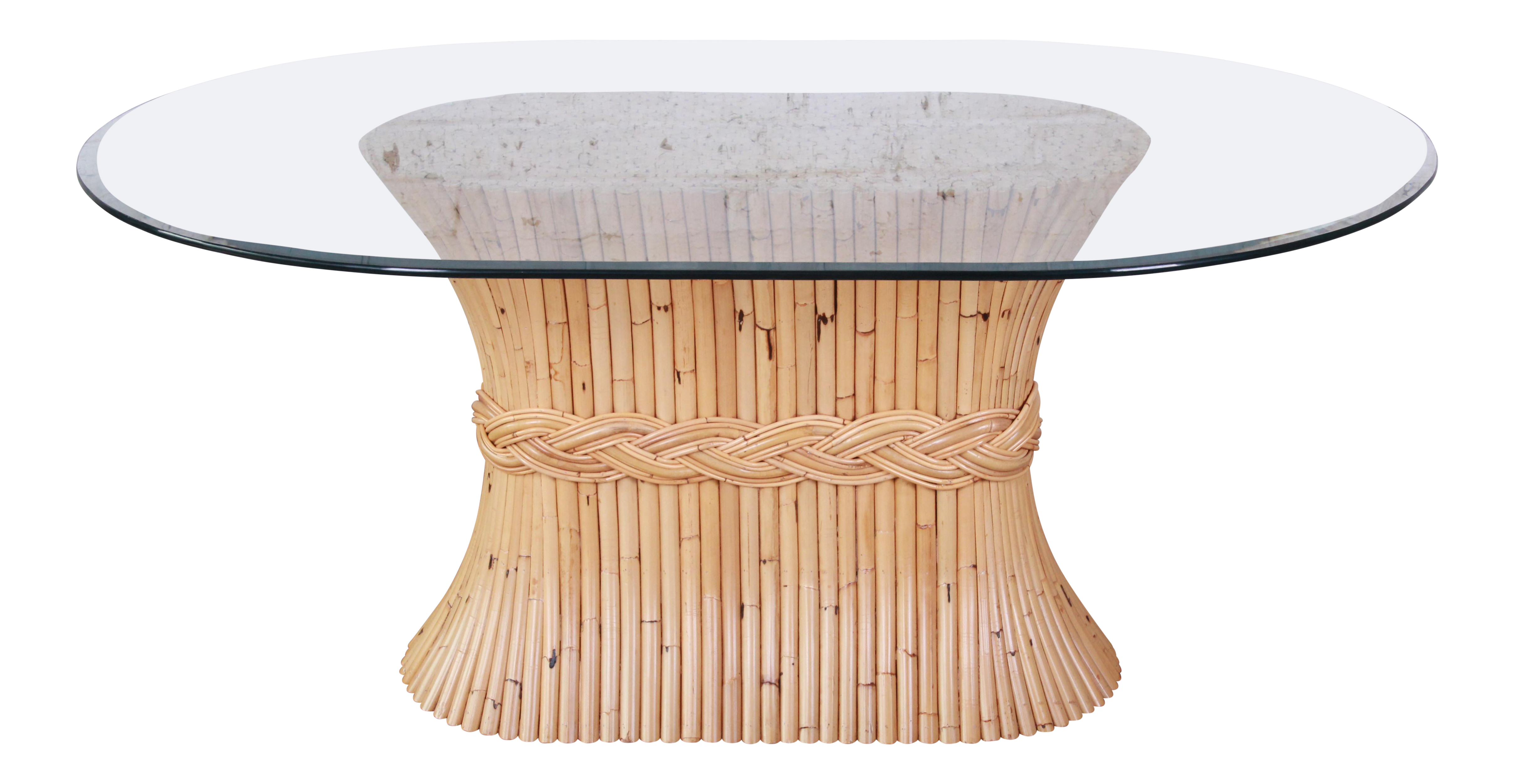 McGuire Mid Century Bamboo Pedestal Dining Table