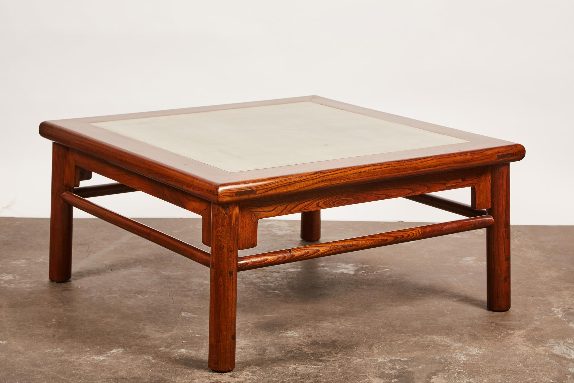 Superior 20th Century Ming Elm Coffee Table with a Mint Green