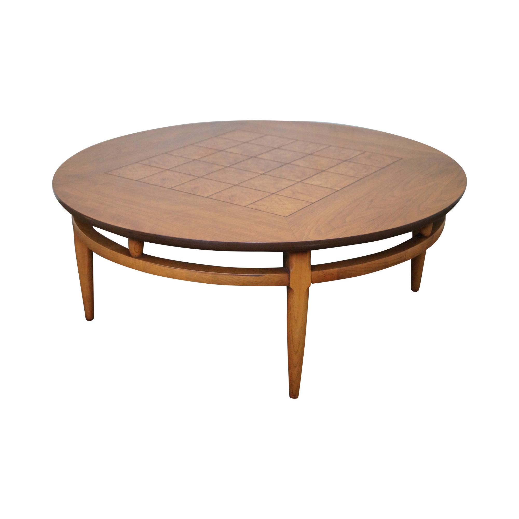 Lane Mid Century Round Burl Walnut Coffee Table