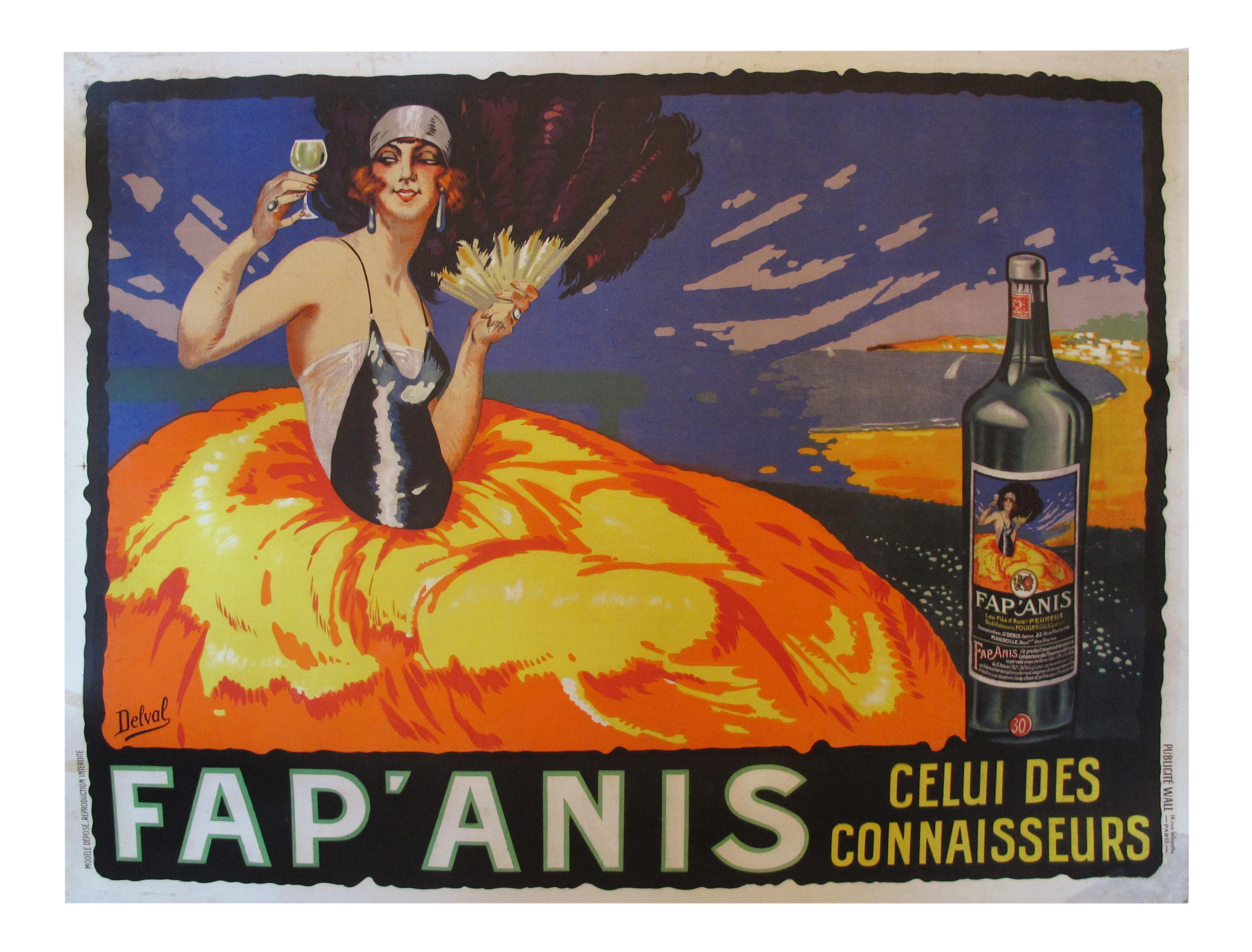 Vintage French Art Deco FapAnis Alcohol Poster