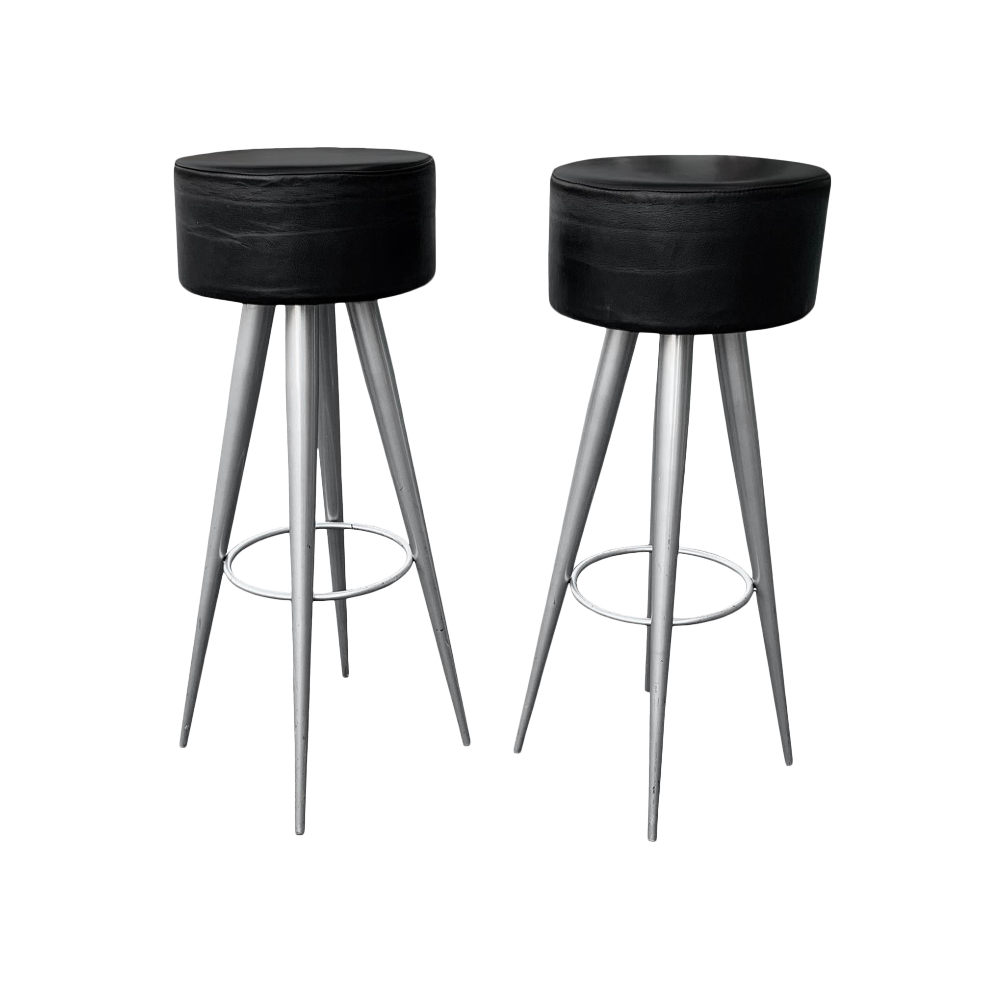Stupendous Modern Black Leather Bar Stools Made In Italy Gmtry Best Dining Table And Chair Ideas Images Gmtryco