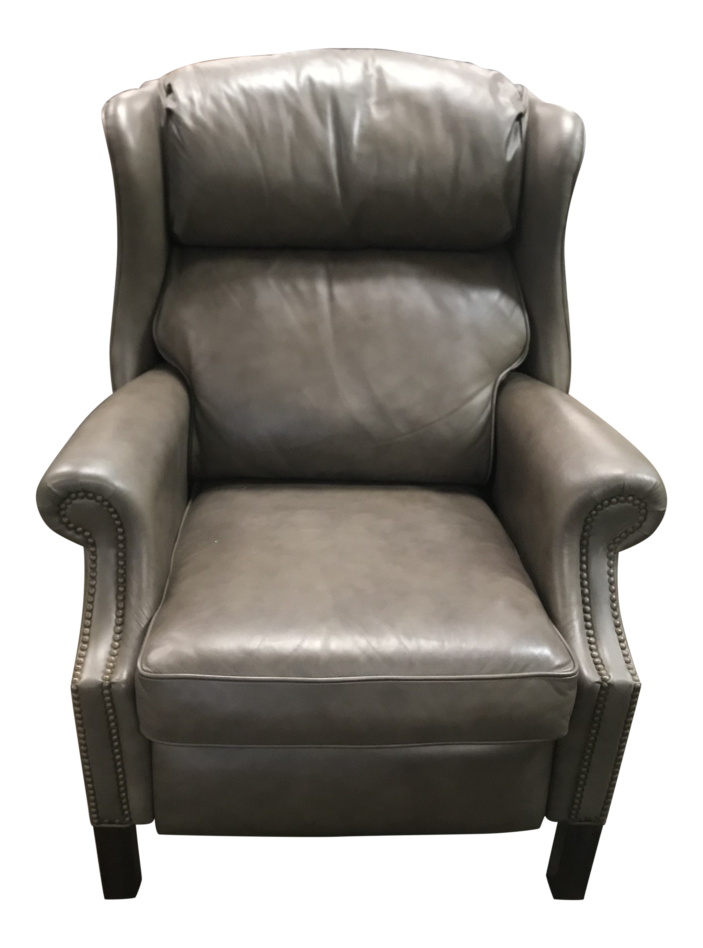 Vintage Bernhardt Furniture Grey Leather Push Wingback