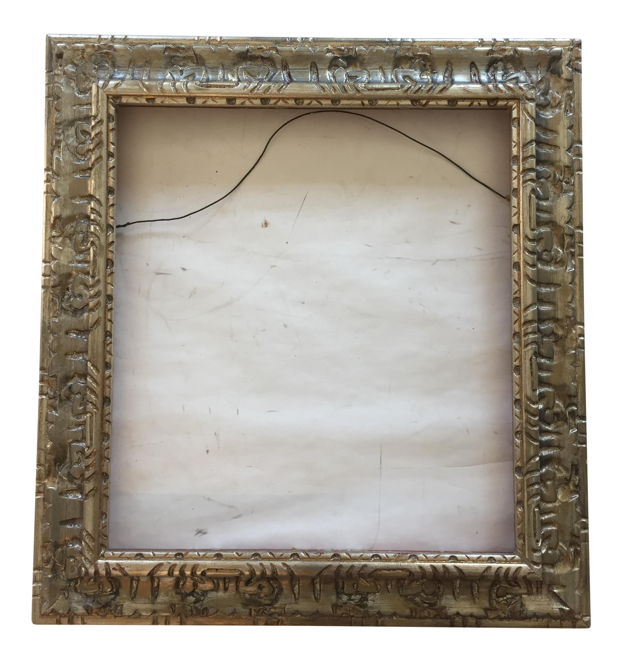 Vintage carved wood silver frame chairish jeuxipadfo Image collections
