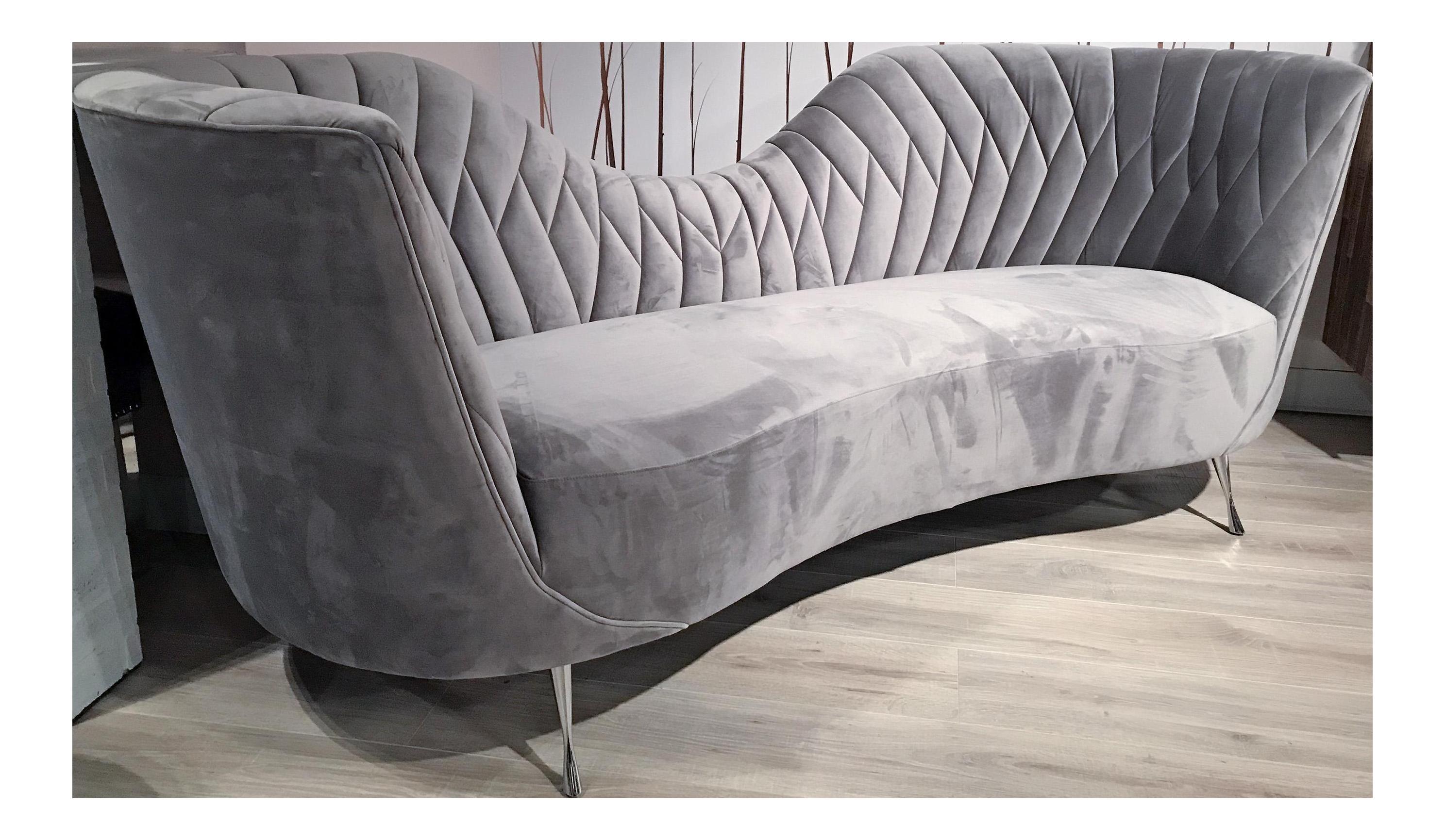 Modern Grey Velvet Sofa Italian Modern Style Chairish