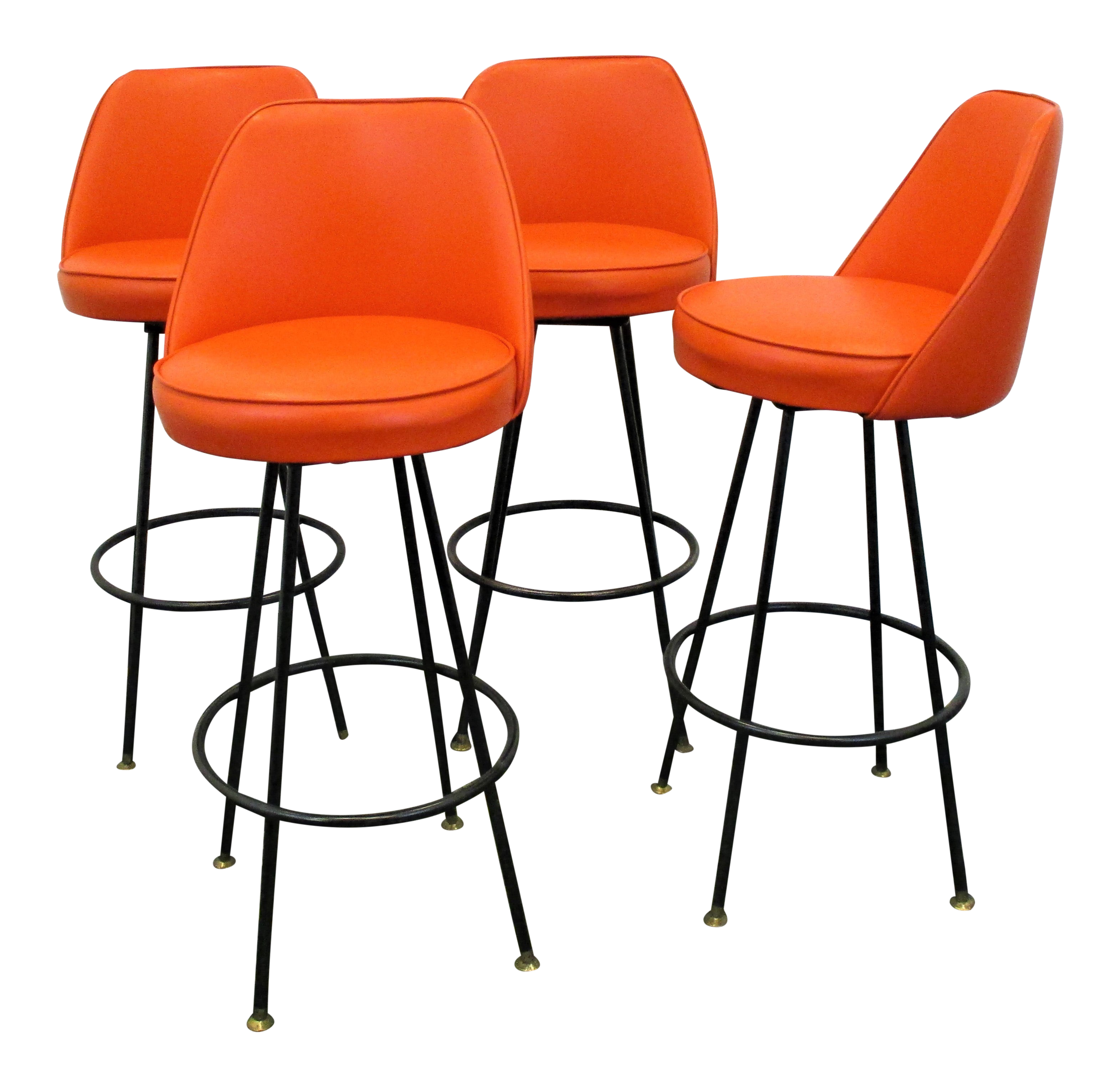 Mid Century Modern Swivel Bar Stools With Original Orange Upholstery Set Of 4 Chairish