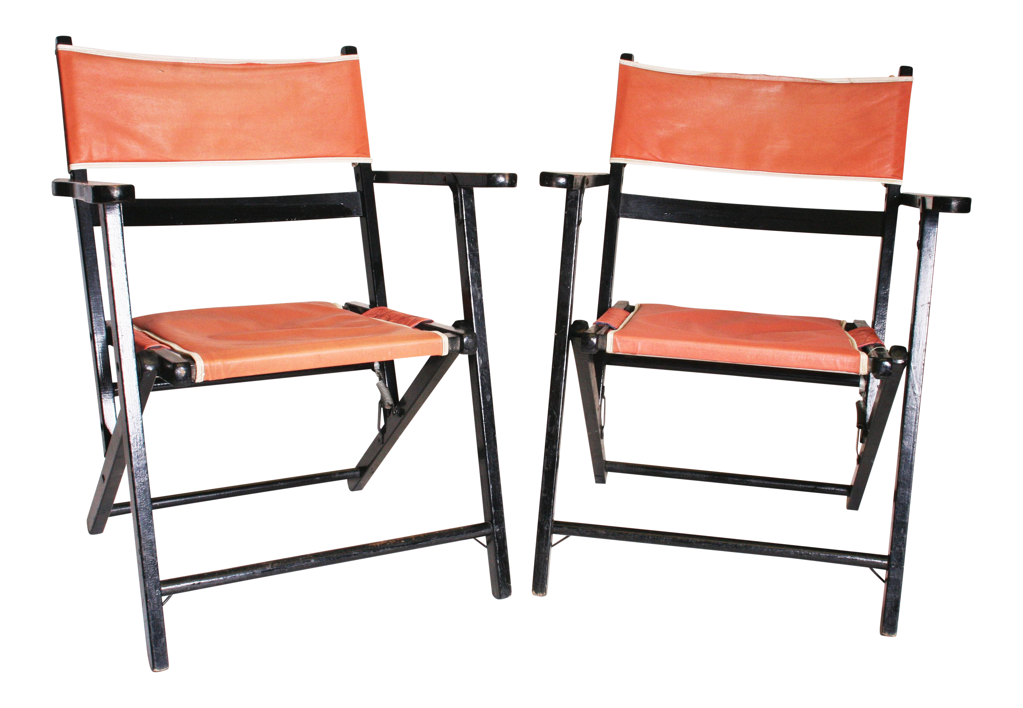 Mid Century Modern Black & Pink Wood Folding Chairs A Pair