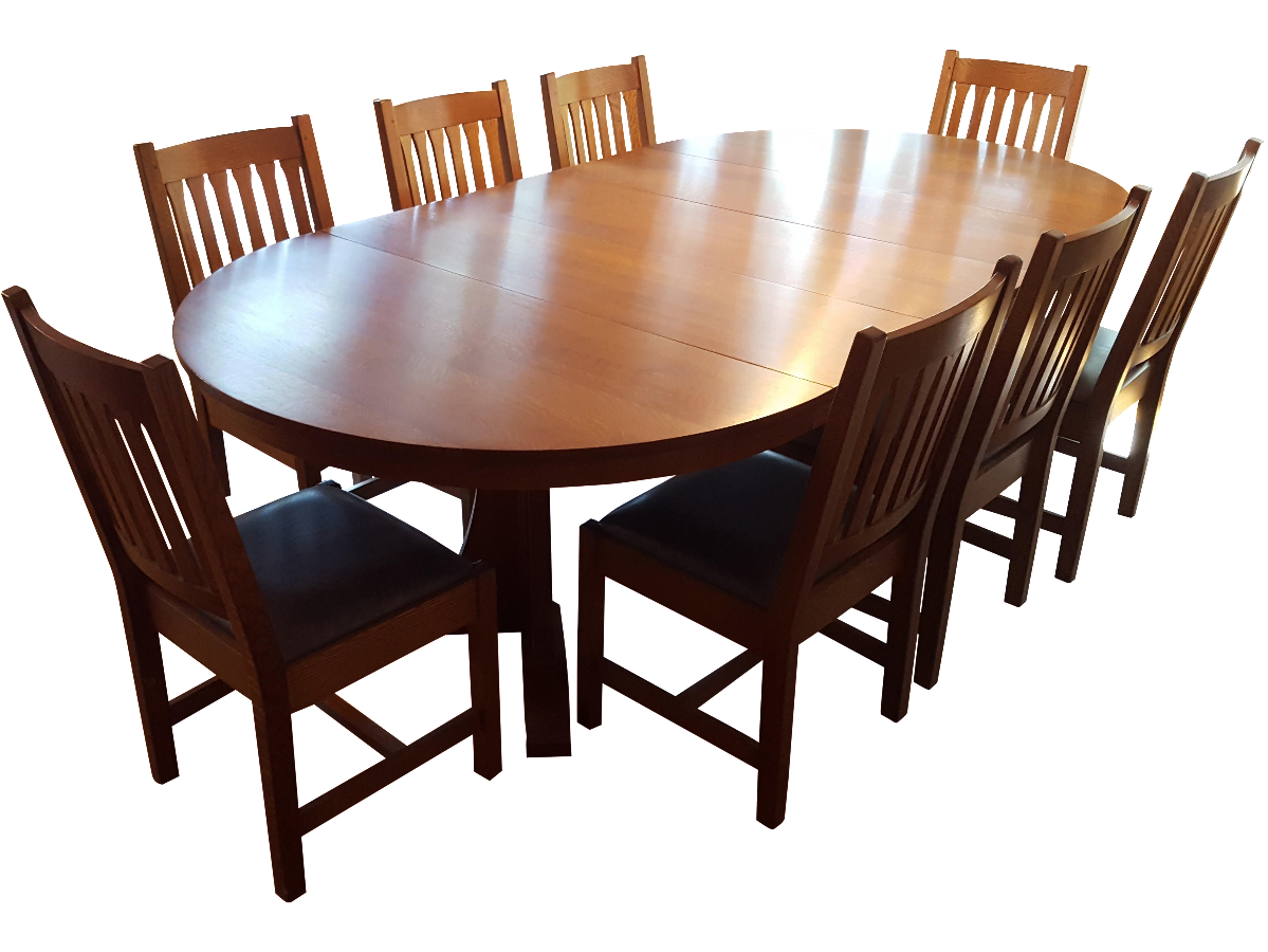 Mission-Style Stickley Oak Dining Set - Set of 9   Chairish
