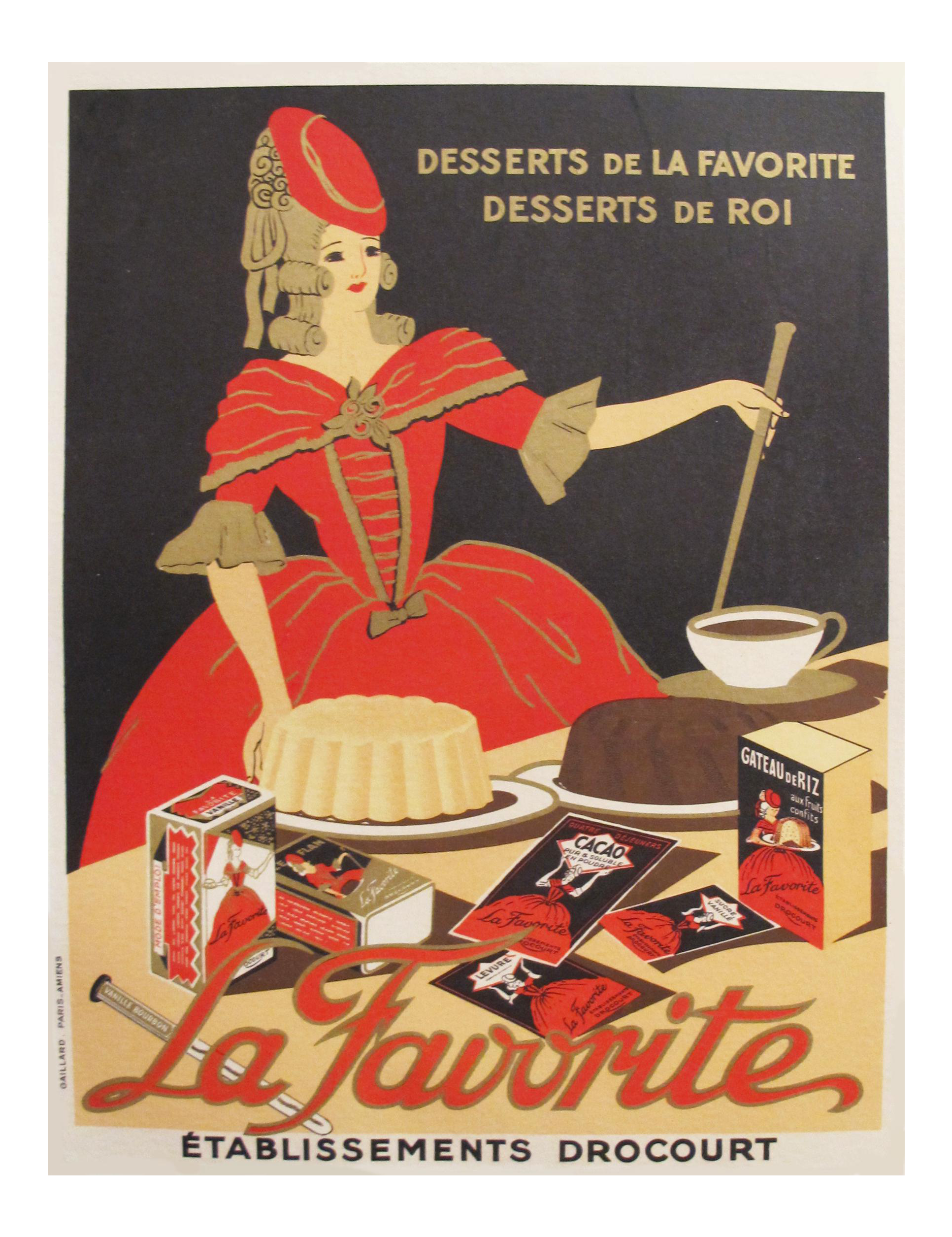 1930s French Vintage Food Poster La Favorite Baking