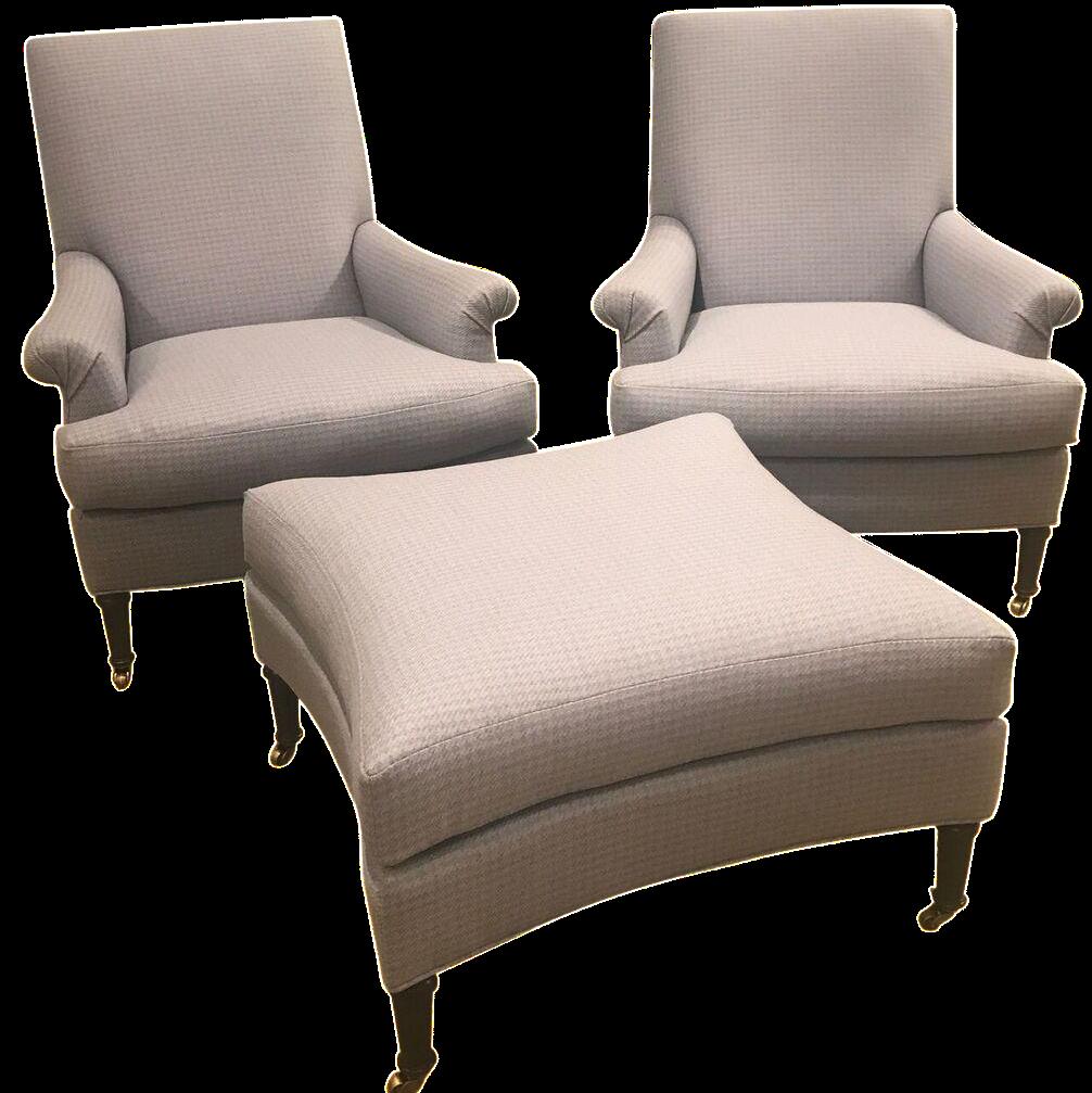 Hickory Chair Virginia Chairs & Ottoman - Set of 3 | Chairish