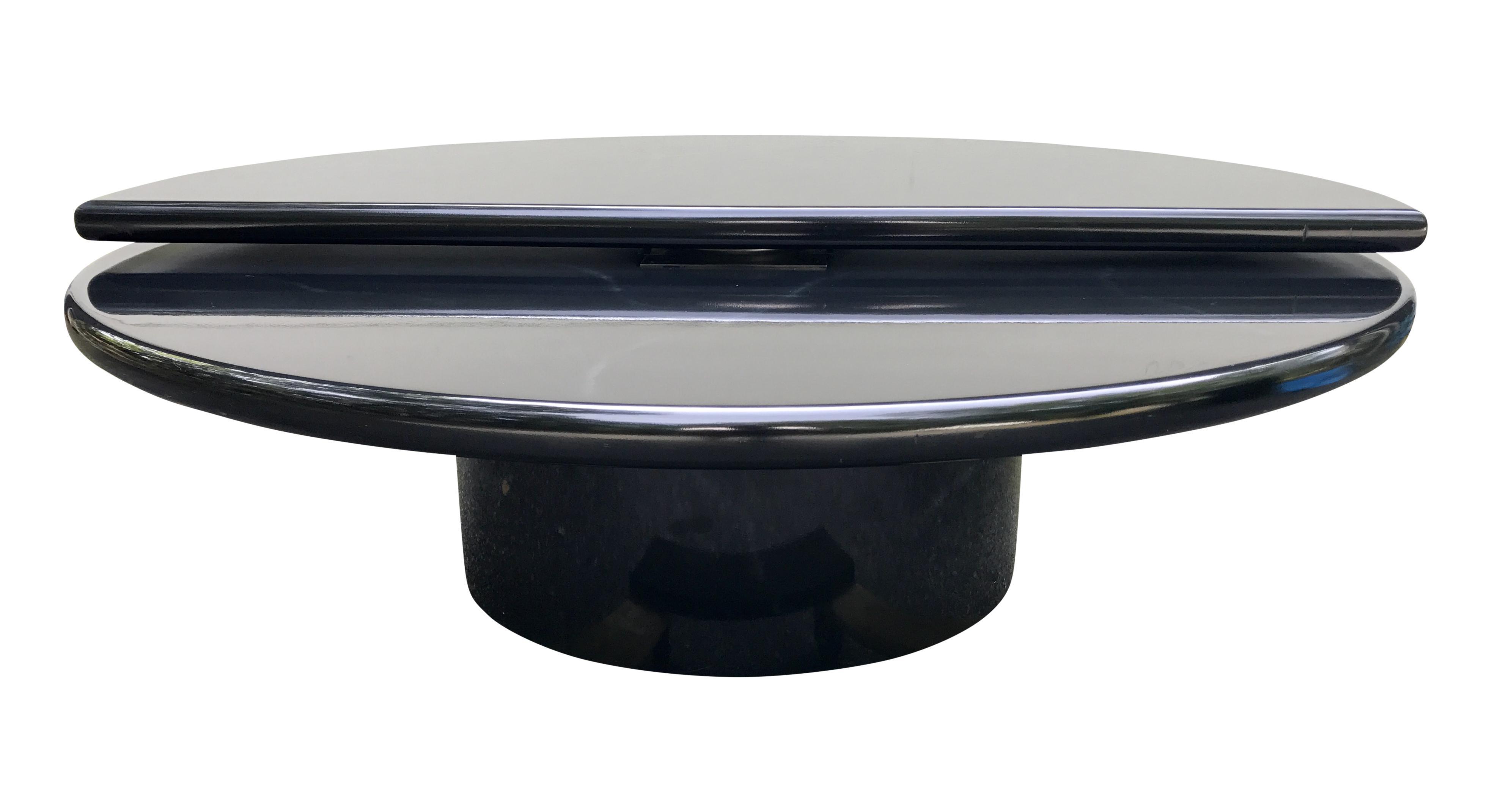 Black Lacquer Swivel Coffee Table Bi Level