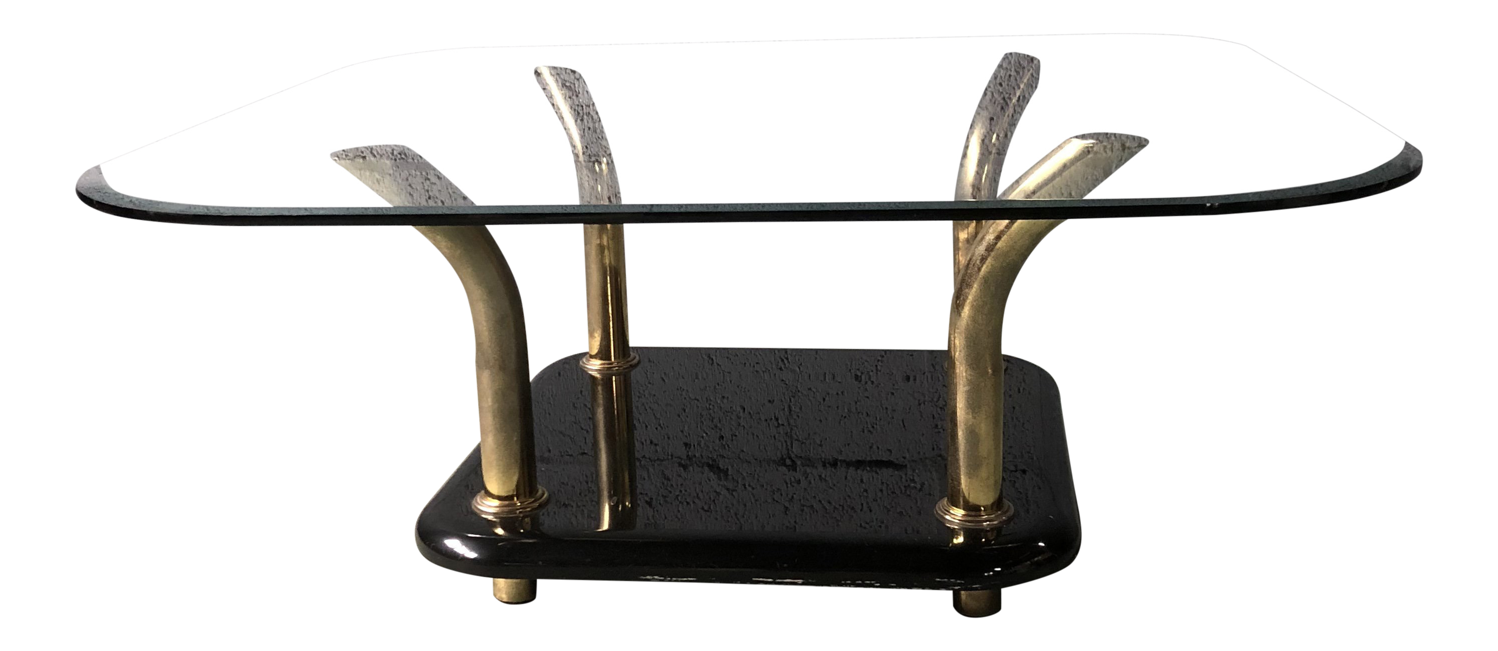 Black Lacquer And Gold Coffee Table With Glass Top Chairish