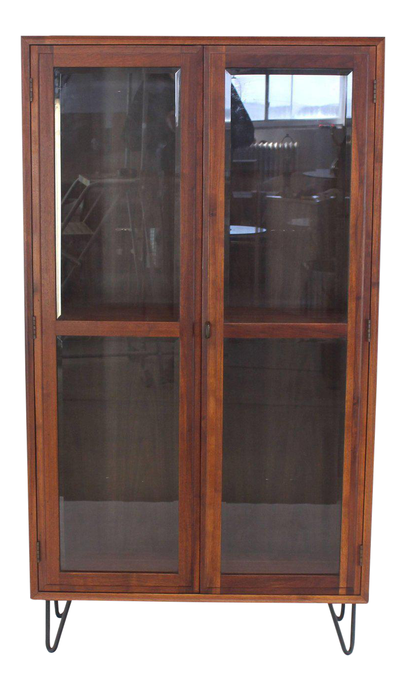 Mid Century Modern Tall Oiled Walnut Two Doors Beveled Glass Bookcase Cabinet