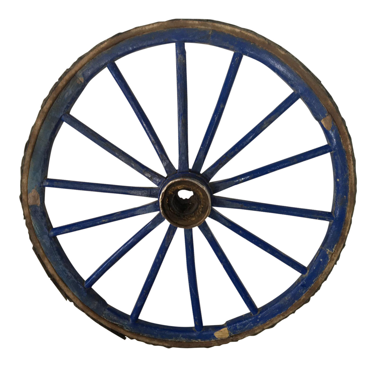 Antique Primitive Blue Wagon Wheel Chairish