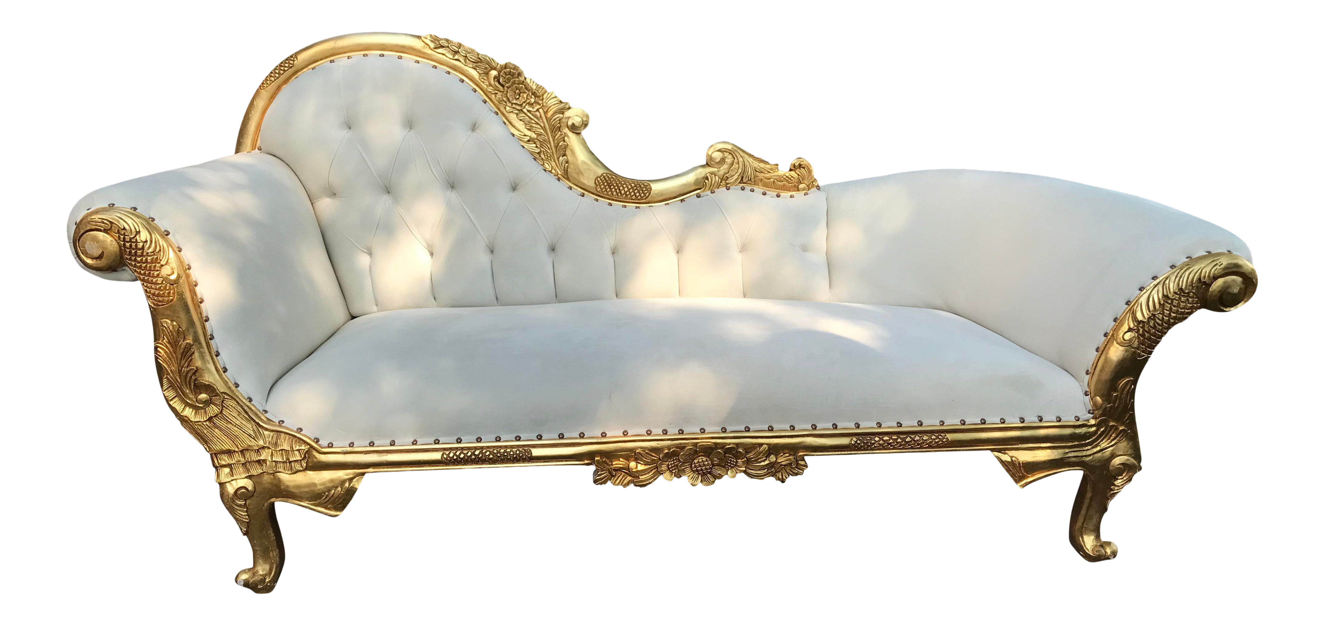 New French Louis Xvi Style Gold And White Upholstery Chaise Lounge Made To Order Chairish
