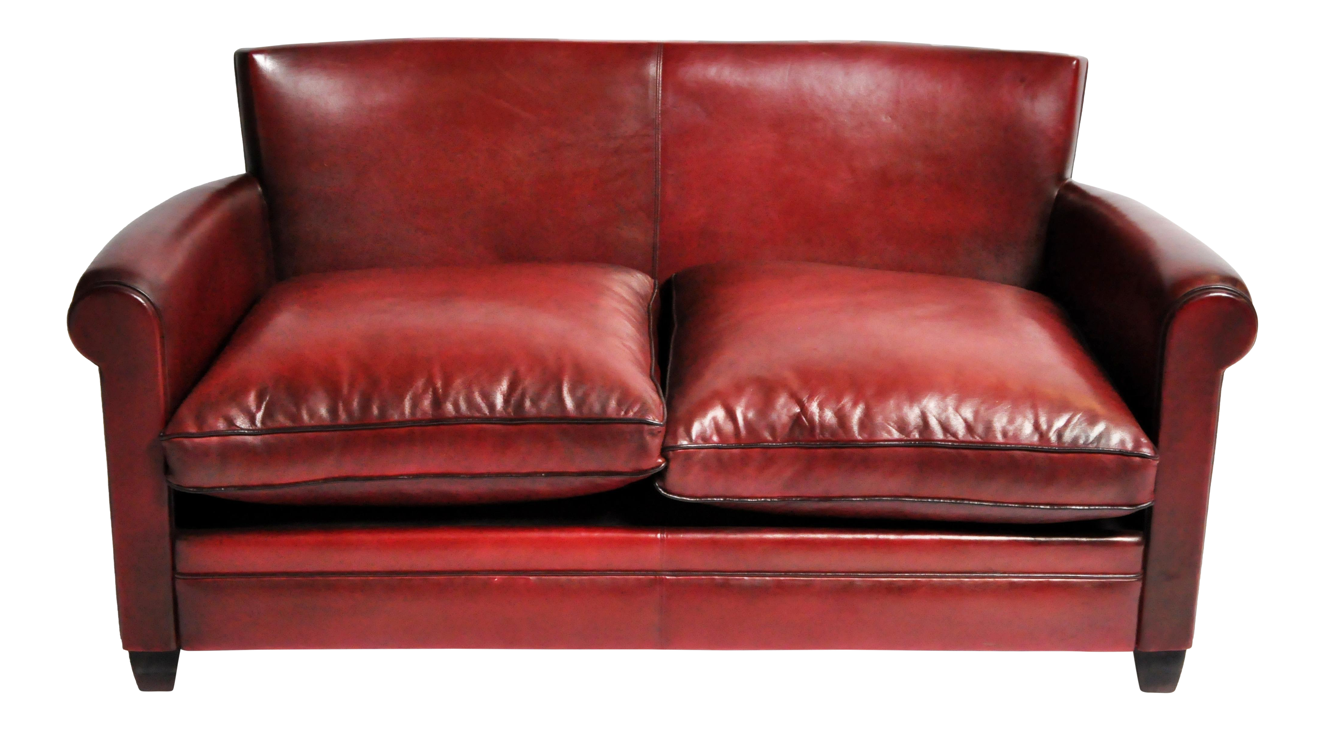 Sophisticated Grand Parisian Style Red Leather Sofa | DECASO