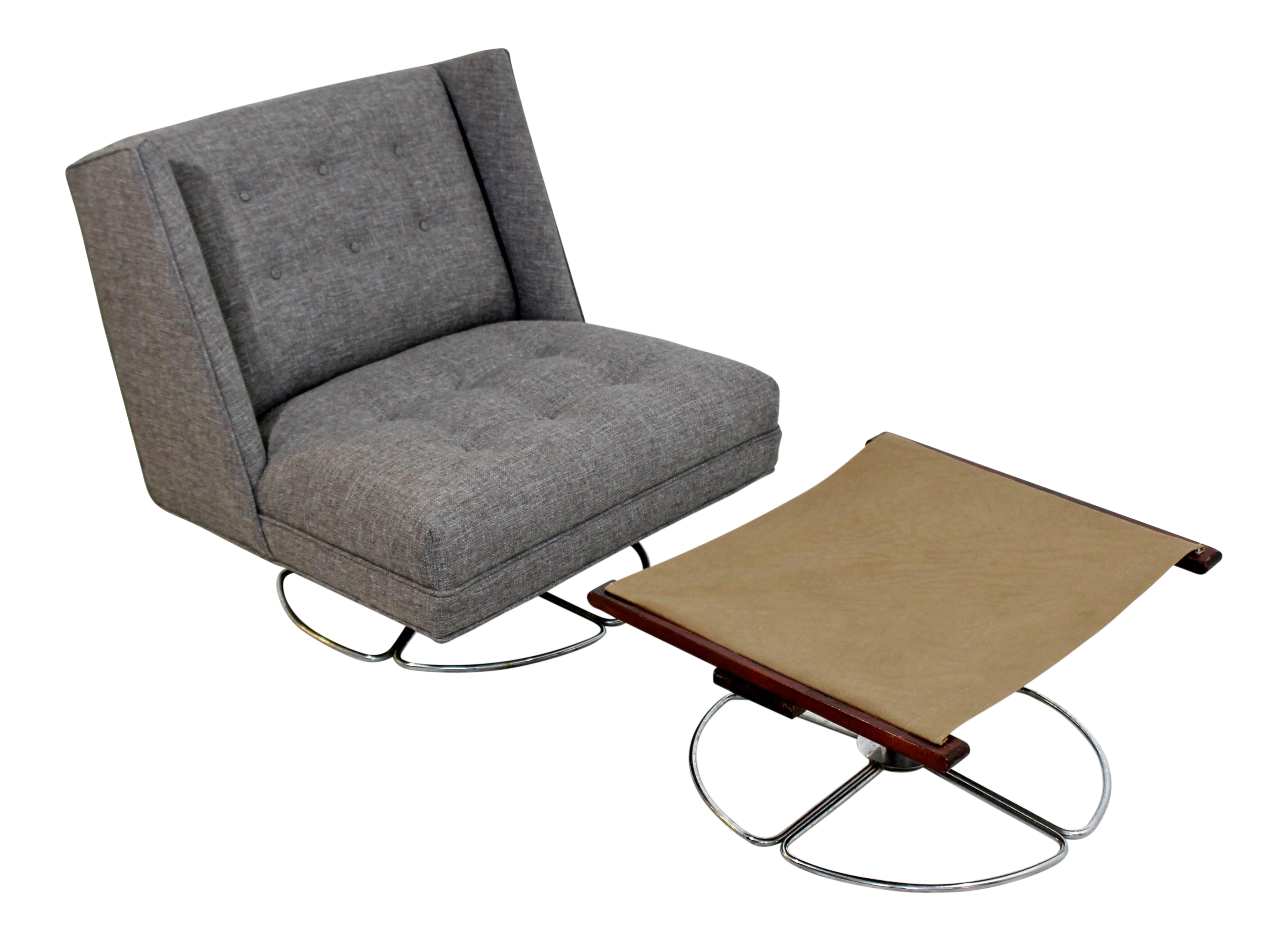 Superb Mid Century Modern Gray With Chrome Base Swivel Chair Ottoman Pabps2019 Chair Design Images Pabps2019Com