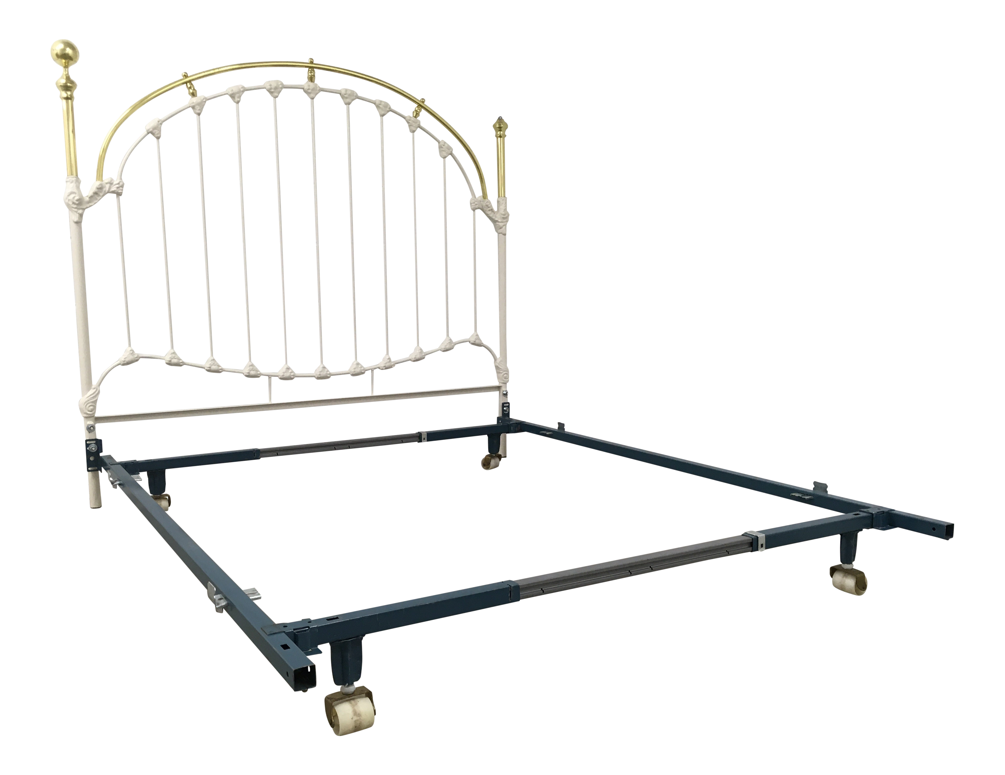 Antique Brass And White Enameled Wrought Iron Queen Bedframe Chairish