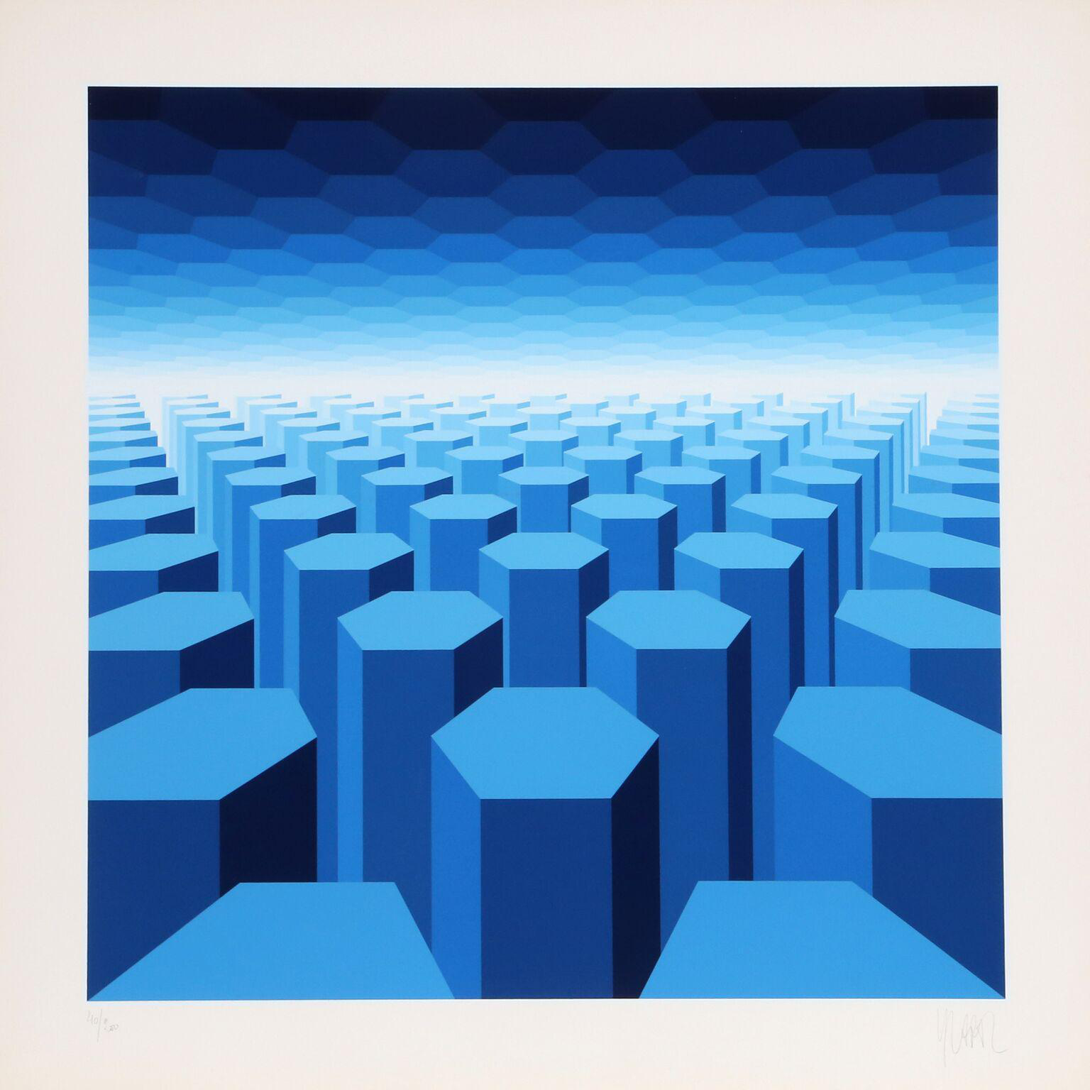 Jean pierre vasarely 50 shades of blue serigraph chairish for 0co om cca 9 source table