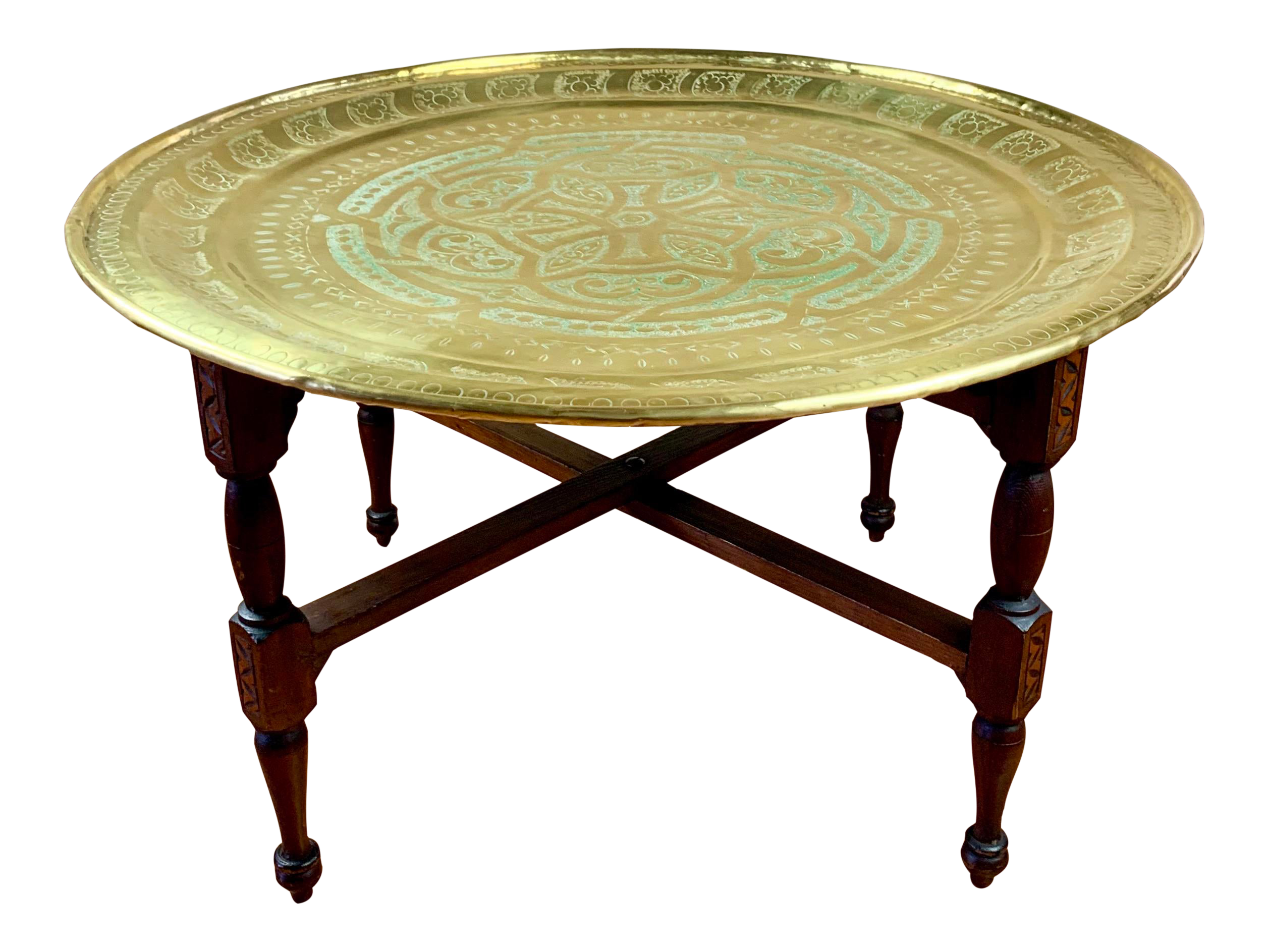 Anglo Indian Round Brass Tray Coffee Table On Folding Wooden Base Chairish
