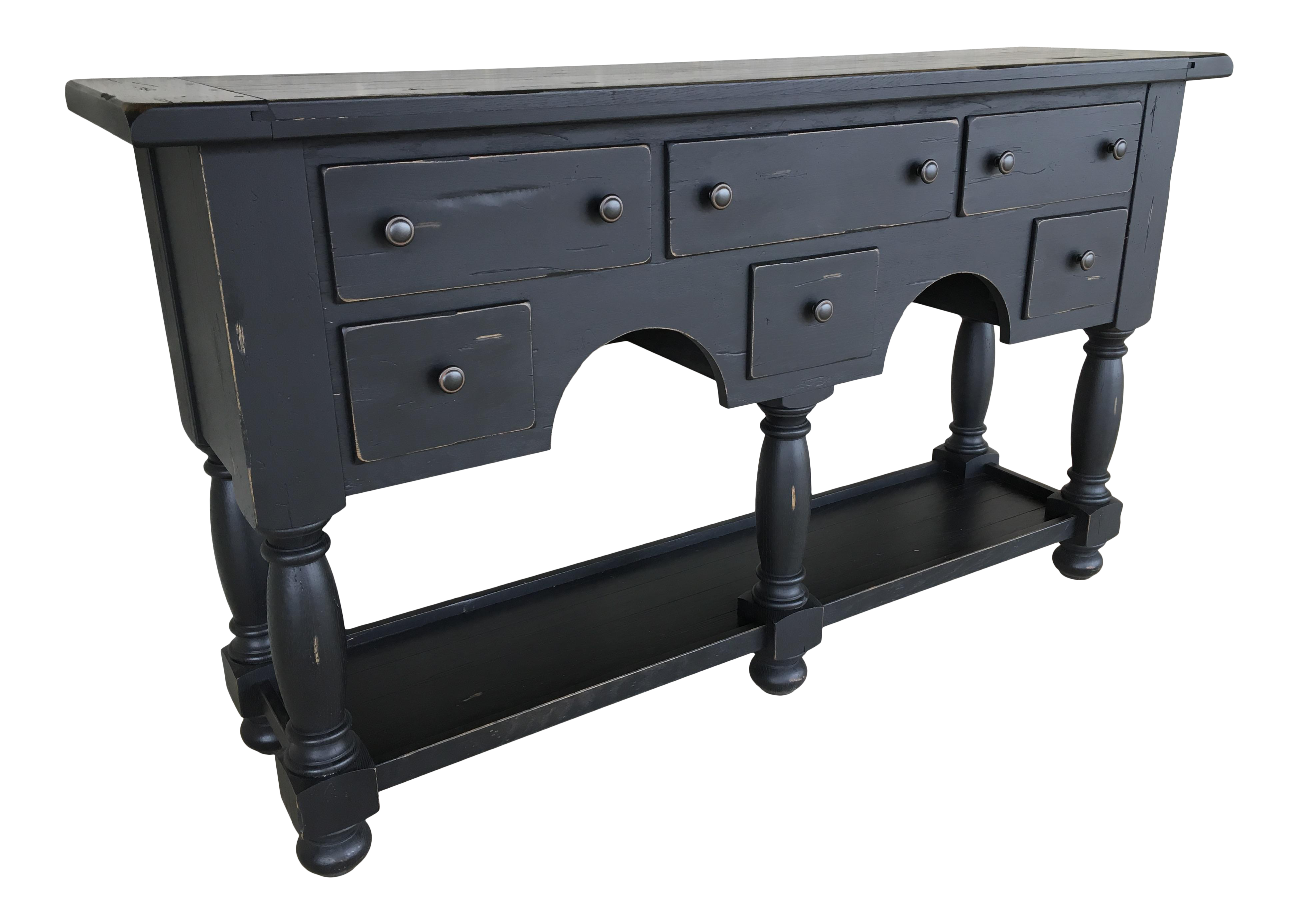 Picture of: Broyhill Attic Heirlooms Sideboard Buffet Solid Oak Black Distressed Finish Chairish