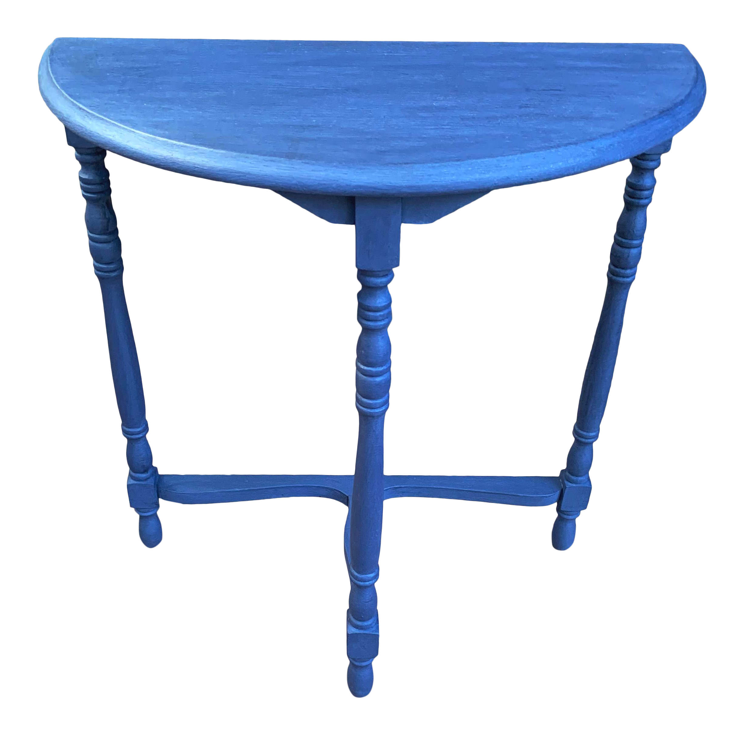 Transitional Blue Chalk Paint Demi Lune Side Table With Turned Legs Chairish
