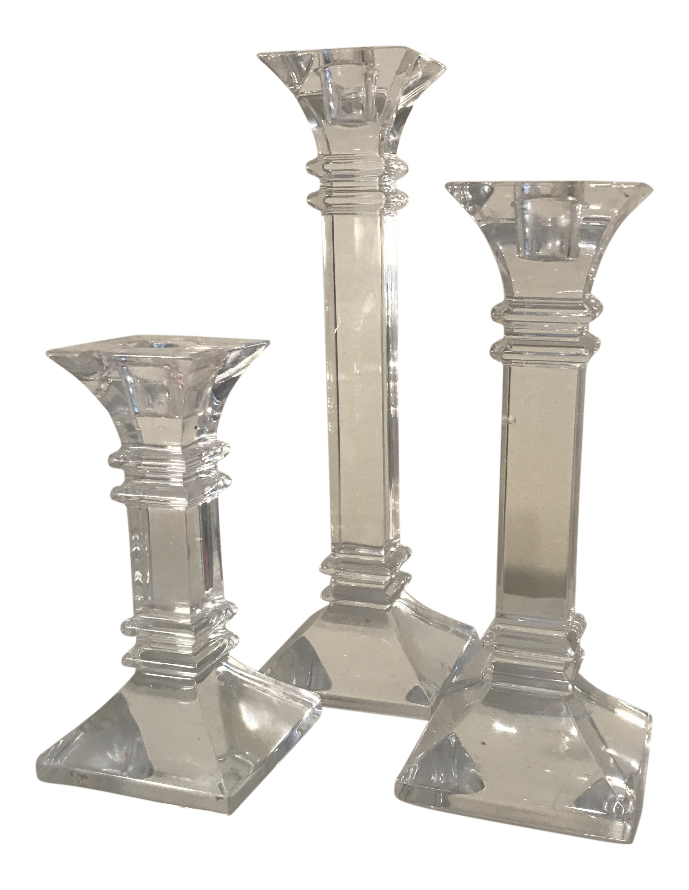 Vintage Waterford Crystal Candle Holders - Set of 3 | Chairish