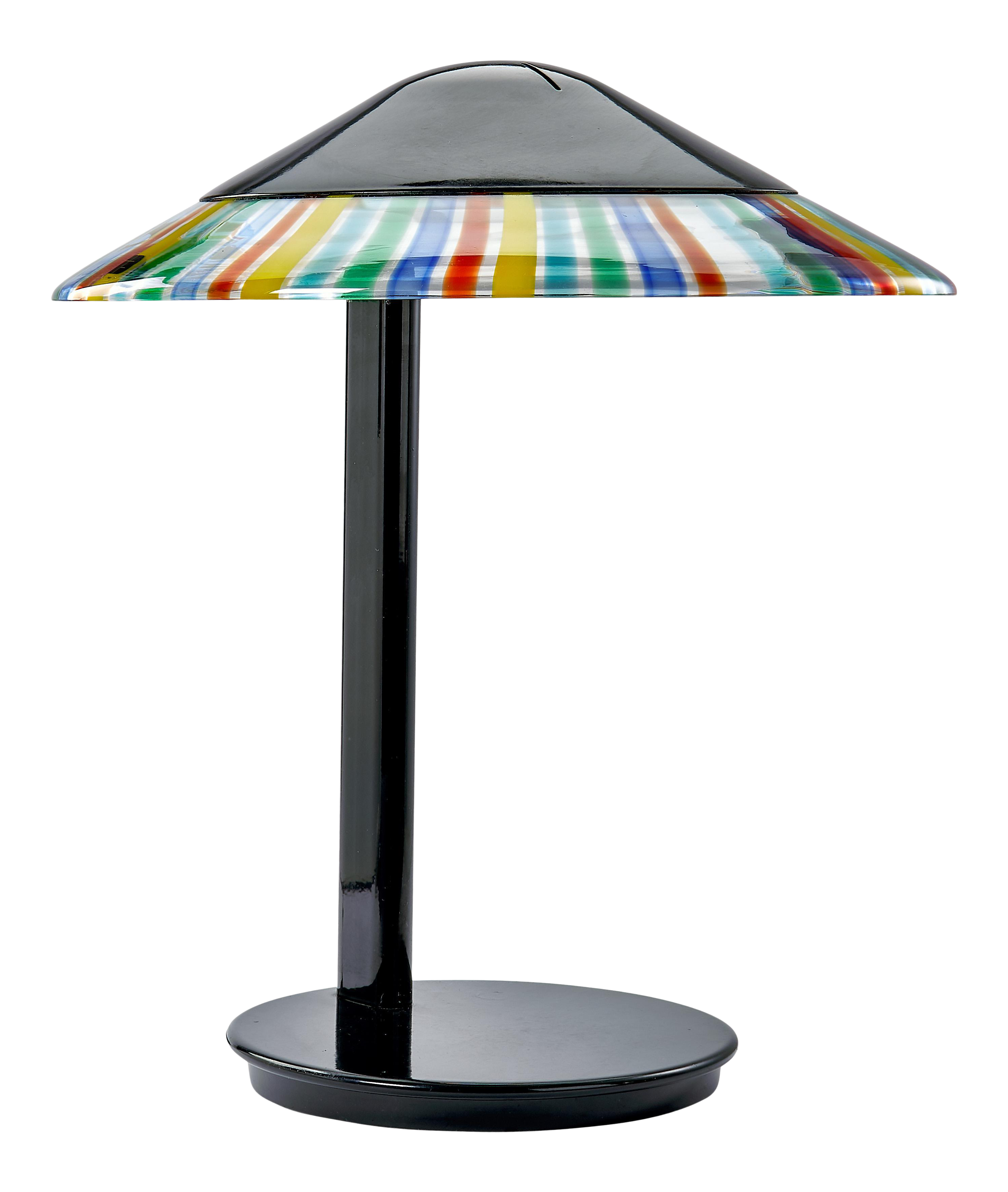 Image of: Italian Mid Century Modern Desk Lamp By Itre Black With Multi Colored Murano Glass Skirt On Shade Chairish