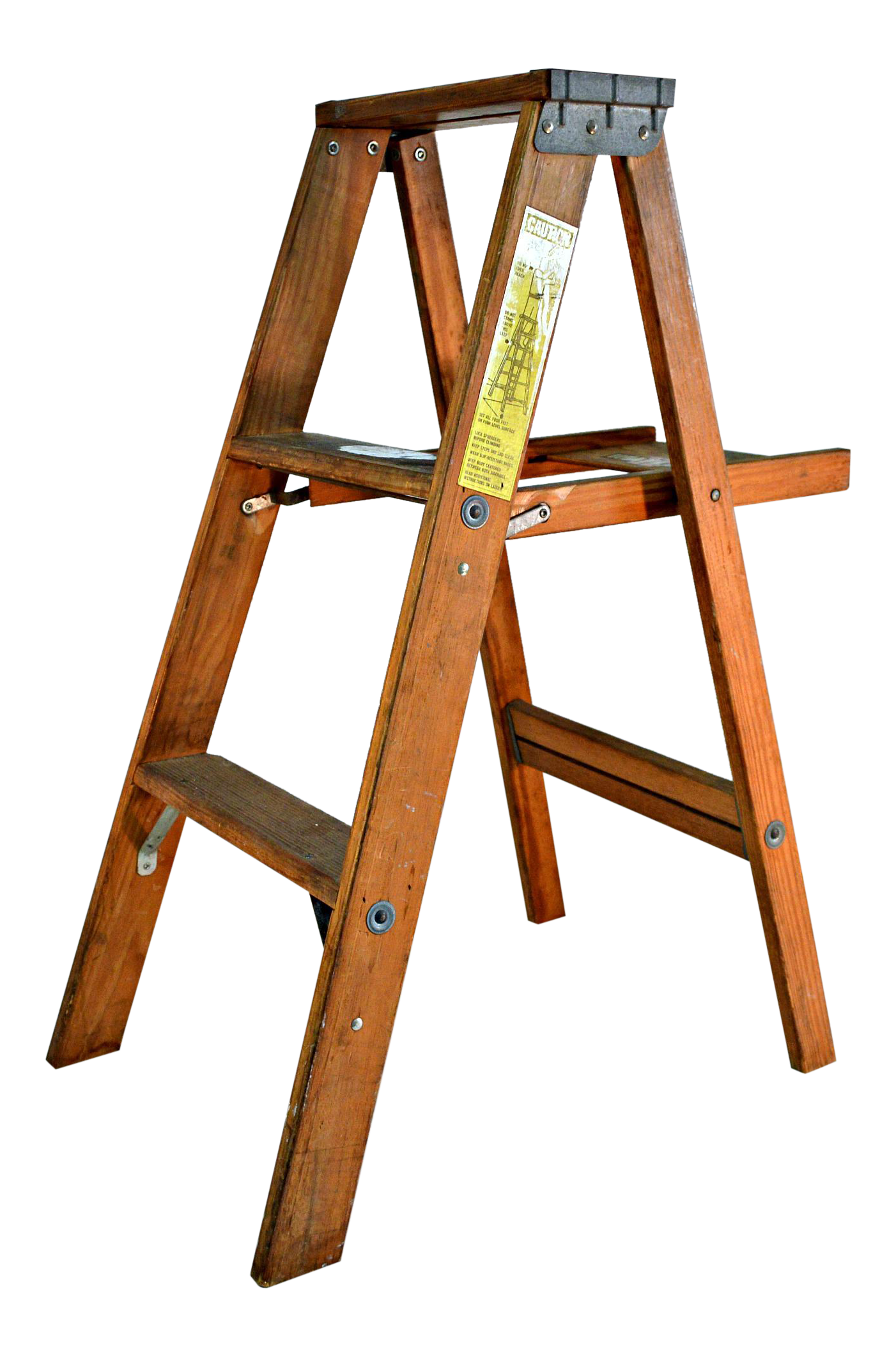 Vintage Wooden Ladder With Tool Shelf Chairish