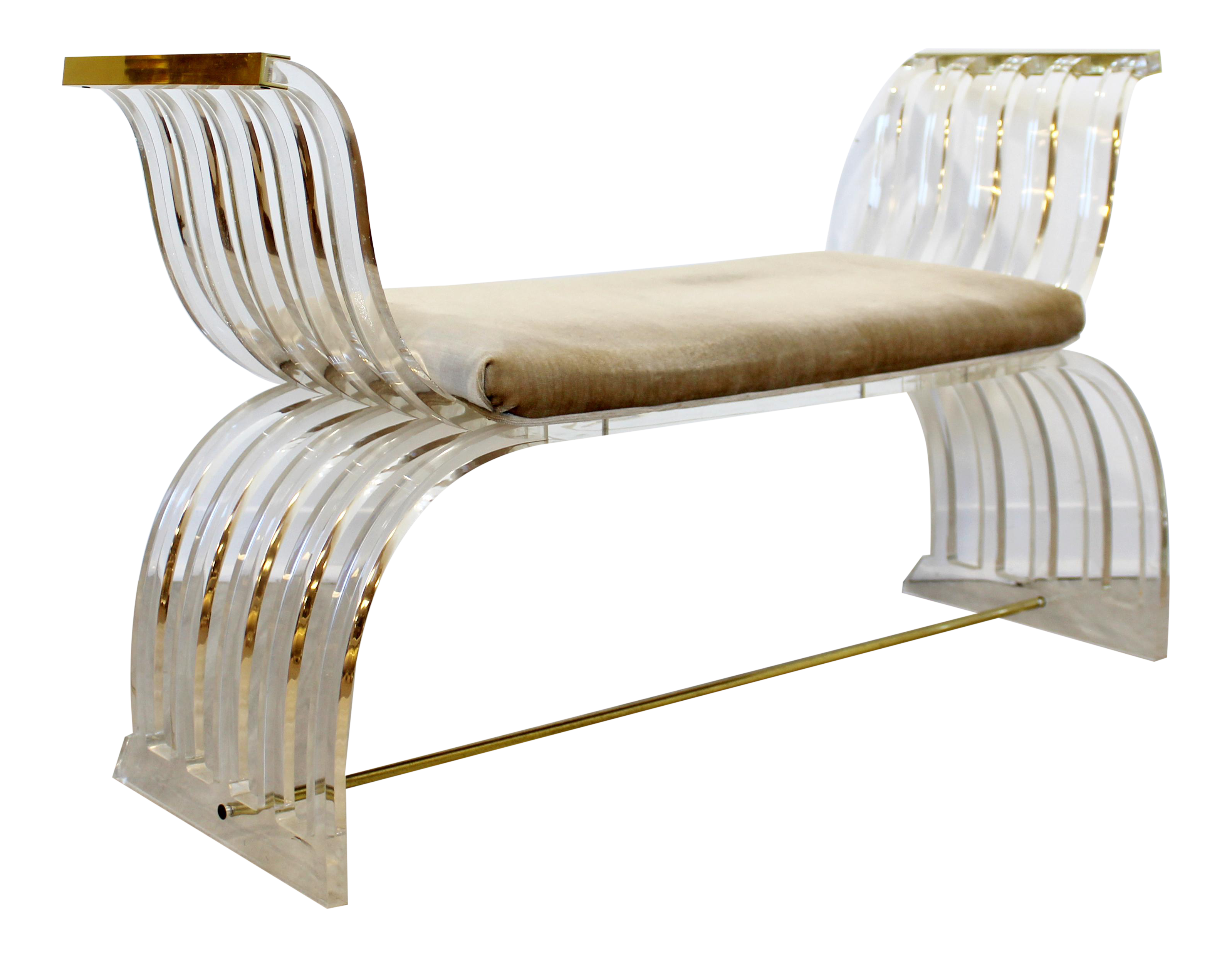 Image of: Mid Century Modern Charles Hollis Jones Angel Wings Lucite Brass Bench Seat 70s Chairish
