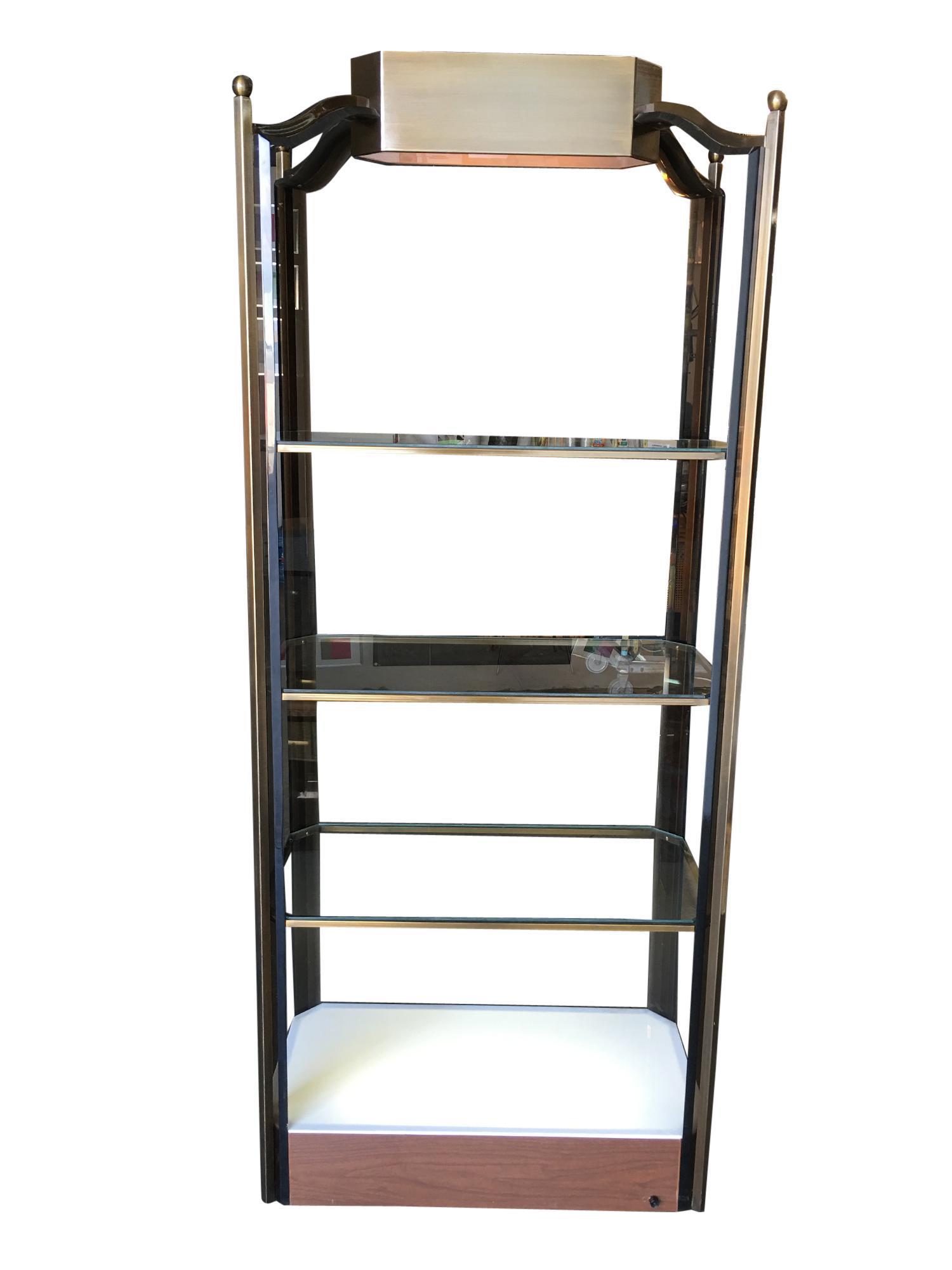 Bronze Glass Light Up Shelf Etagere W Smoked Acrylic Accents