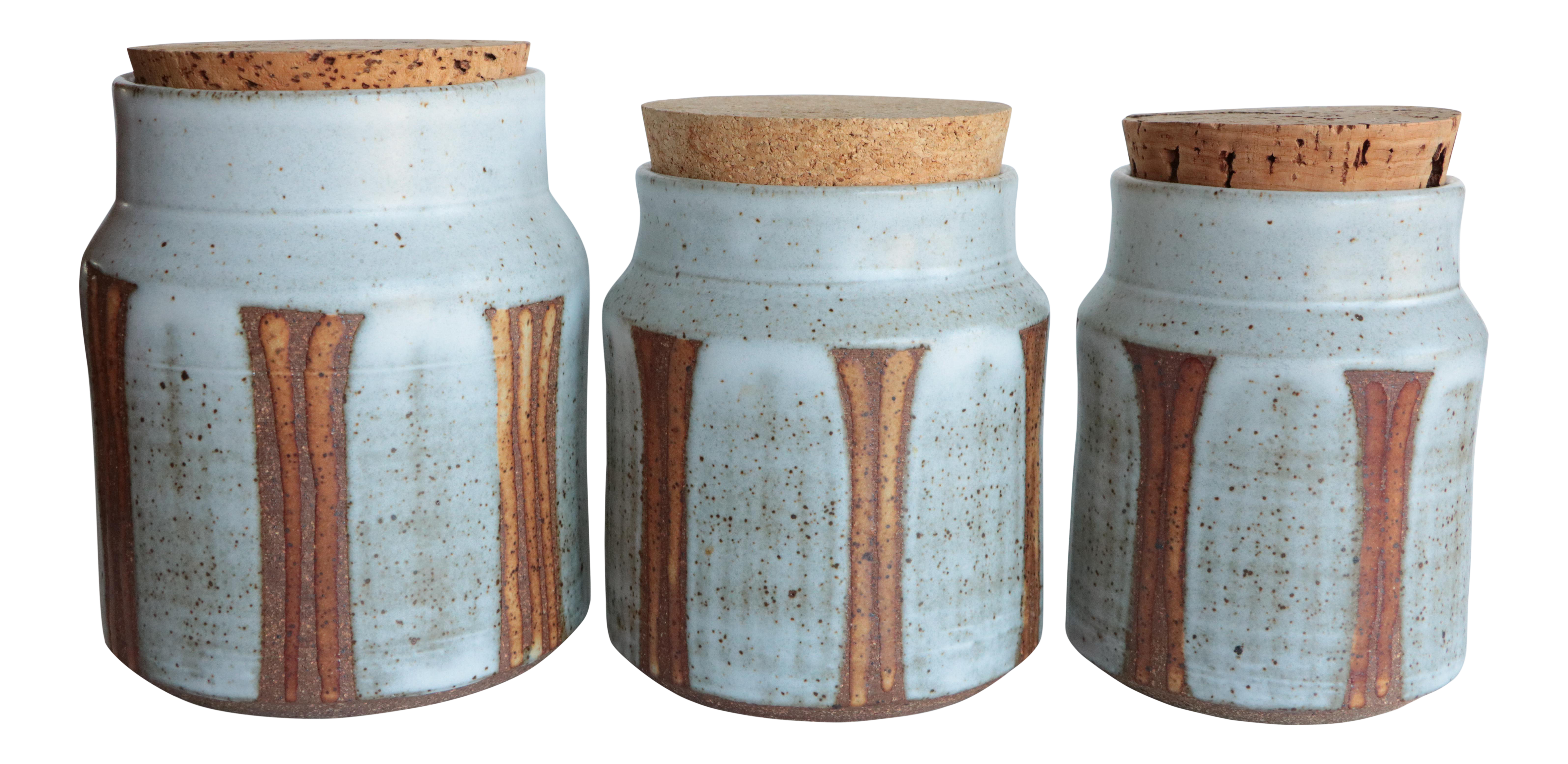 Striped Studio Pottery Canisters - Set of 3 | Chairish
