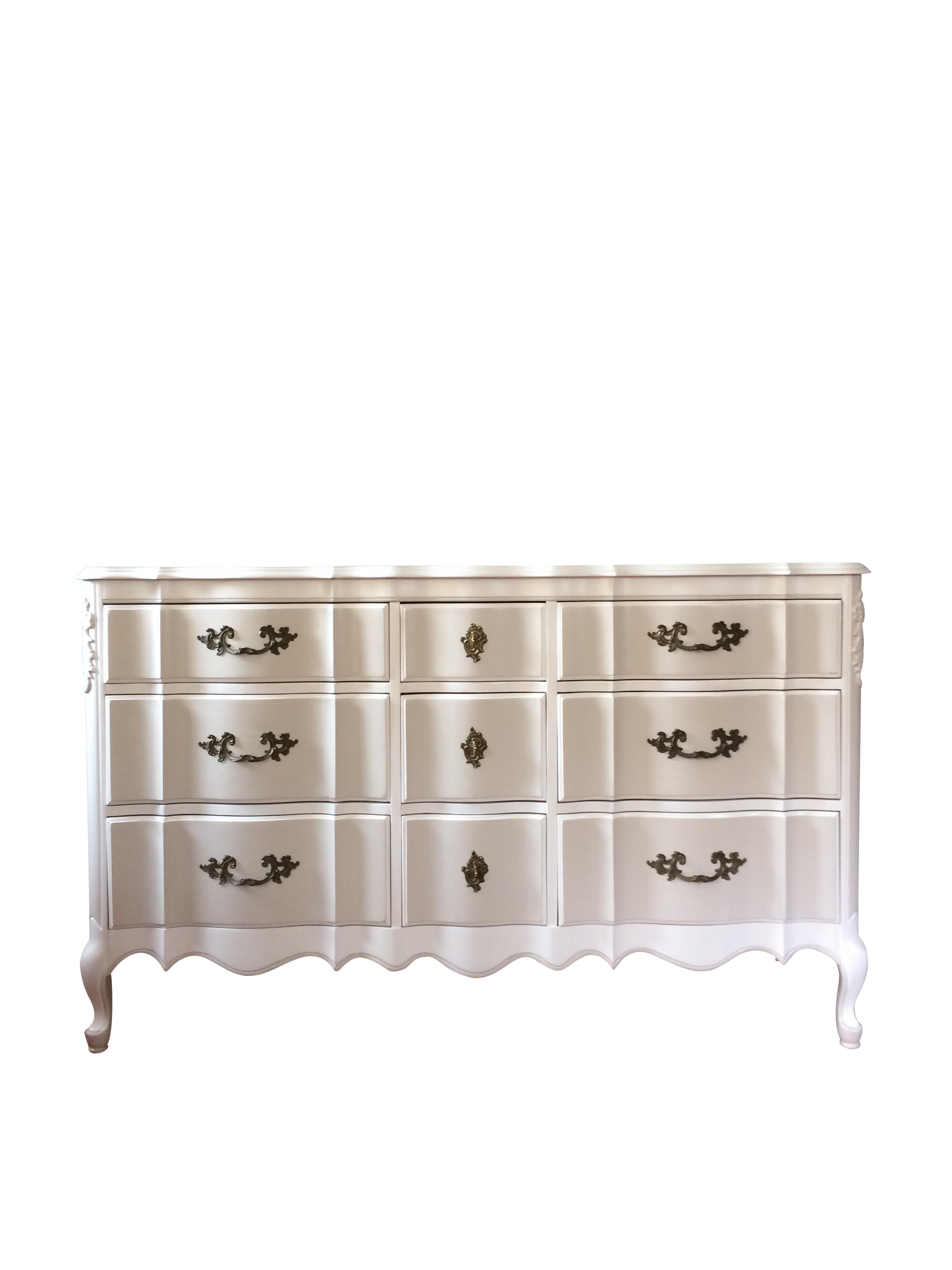Solid Wood Two-Tone French Provincial Dresser | Chairish