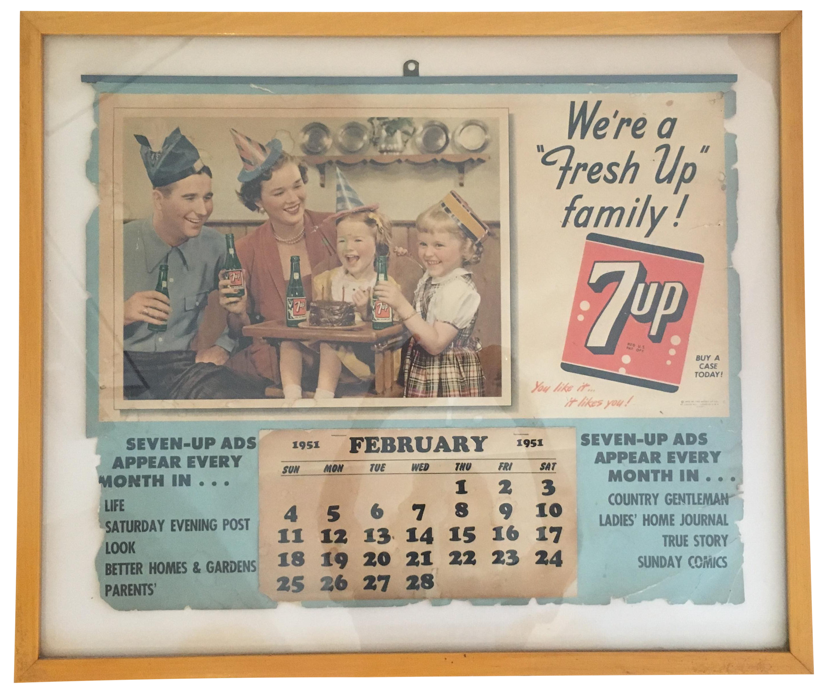 1951 7-Up Framed Calendar | Chairish