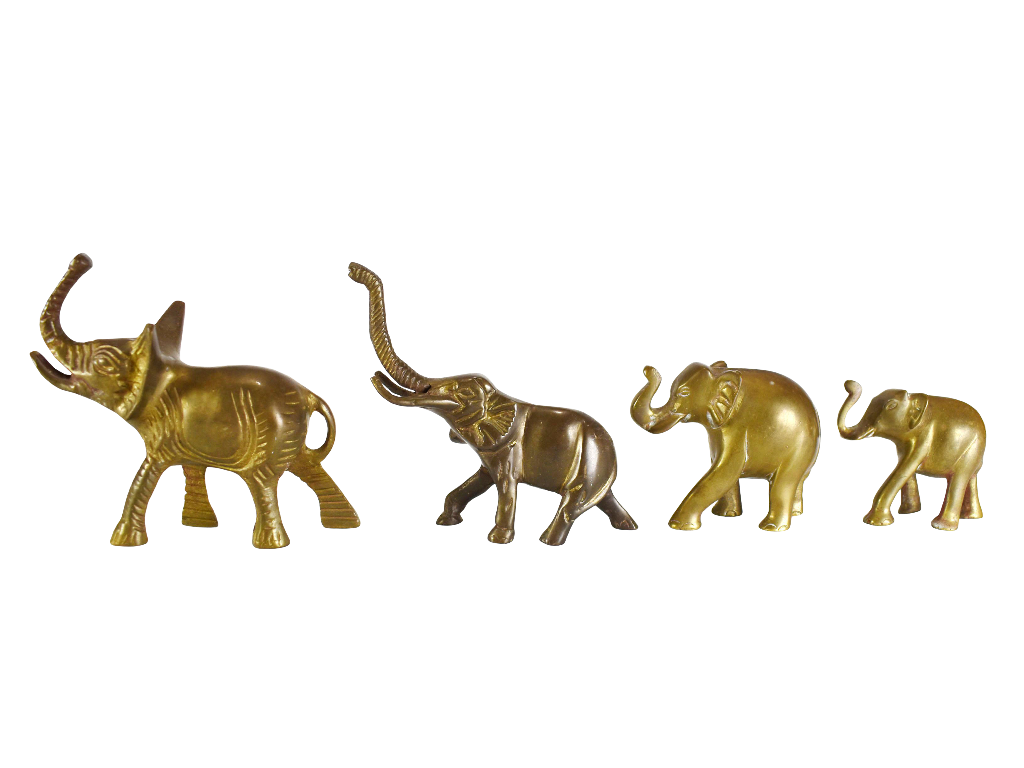 Vintage Solid Brass Trunk Up Lucky Elephant Figurines 4 Pieces Chairish