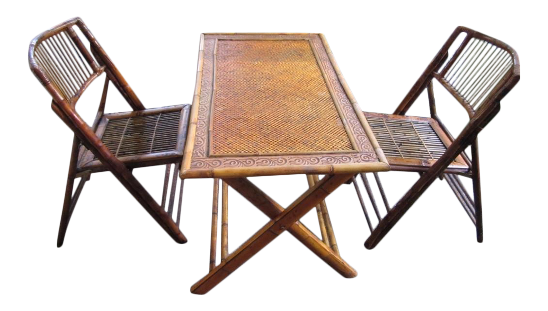 bamboo wood rattan folding dining set card table game table with two