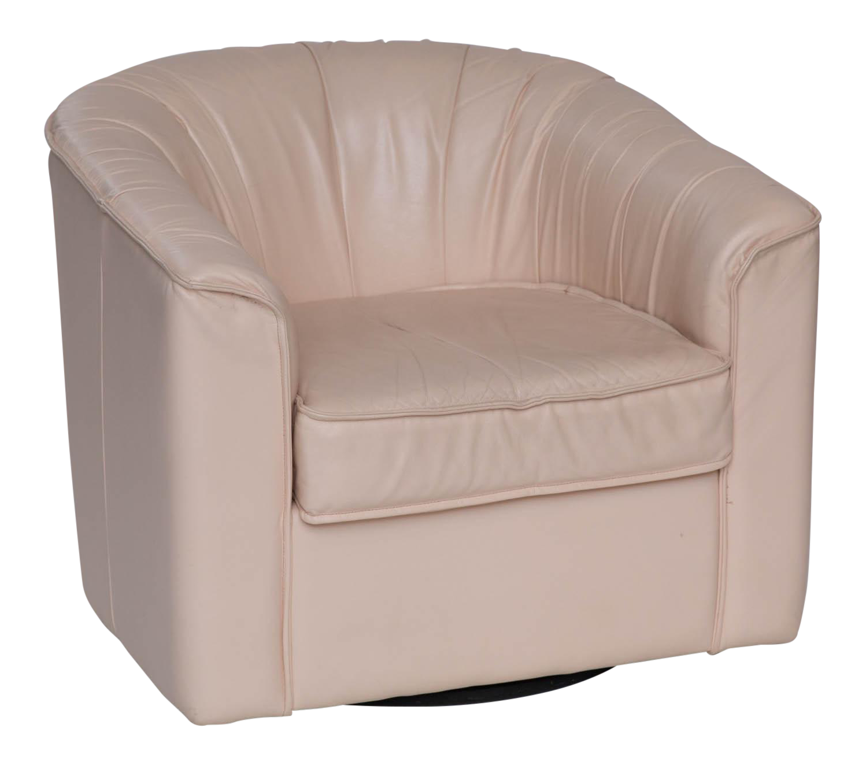 Leather Barrel Back Swivel Chair 8492