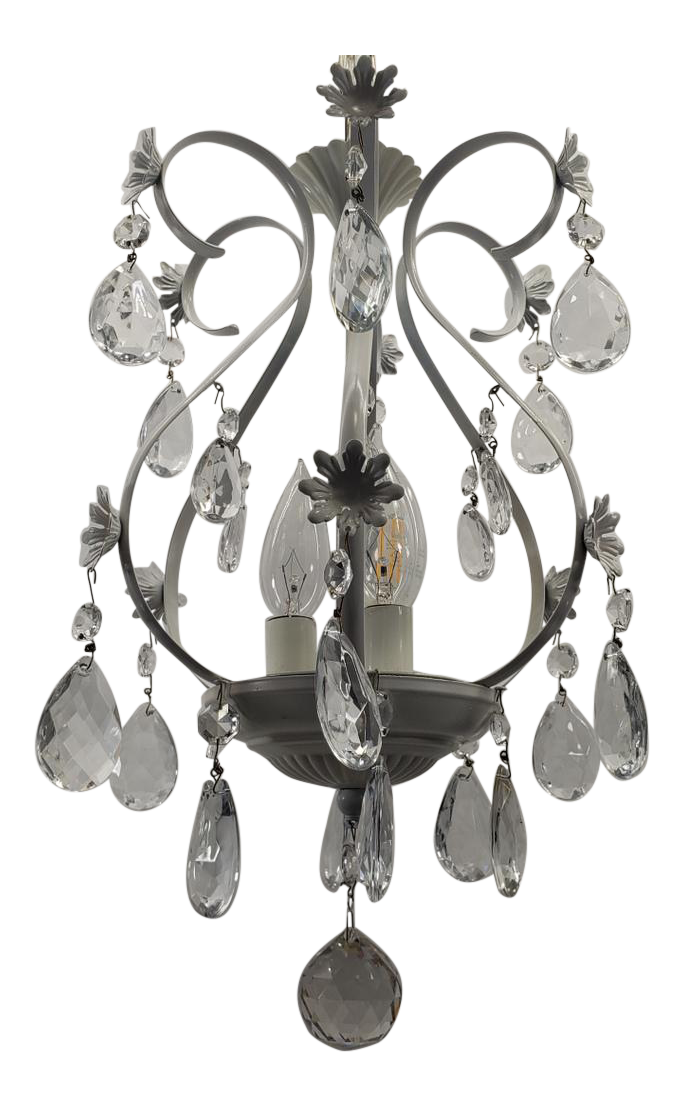 Vintage Bird Cage Petite Crystal White Prisms Chandelier By Schonbec Canada Chairish