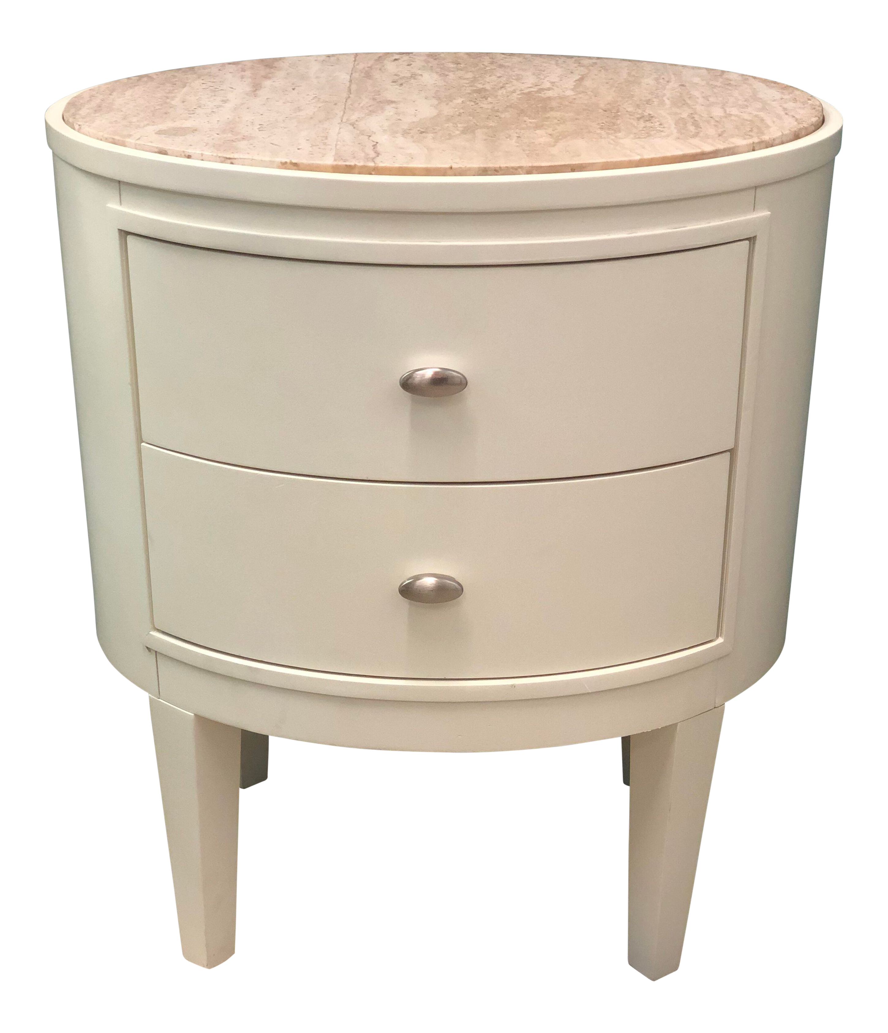 Traditional White Oval Accent Table With Marble Top