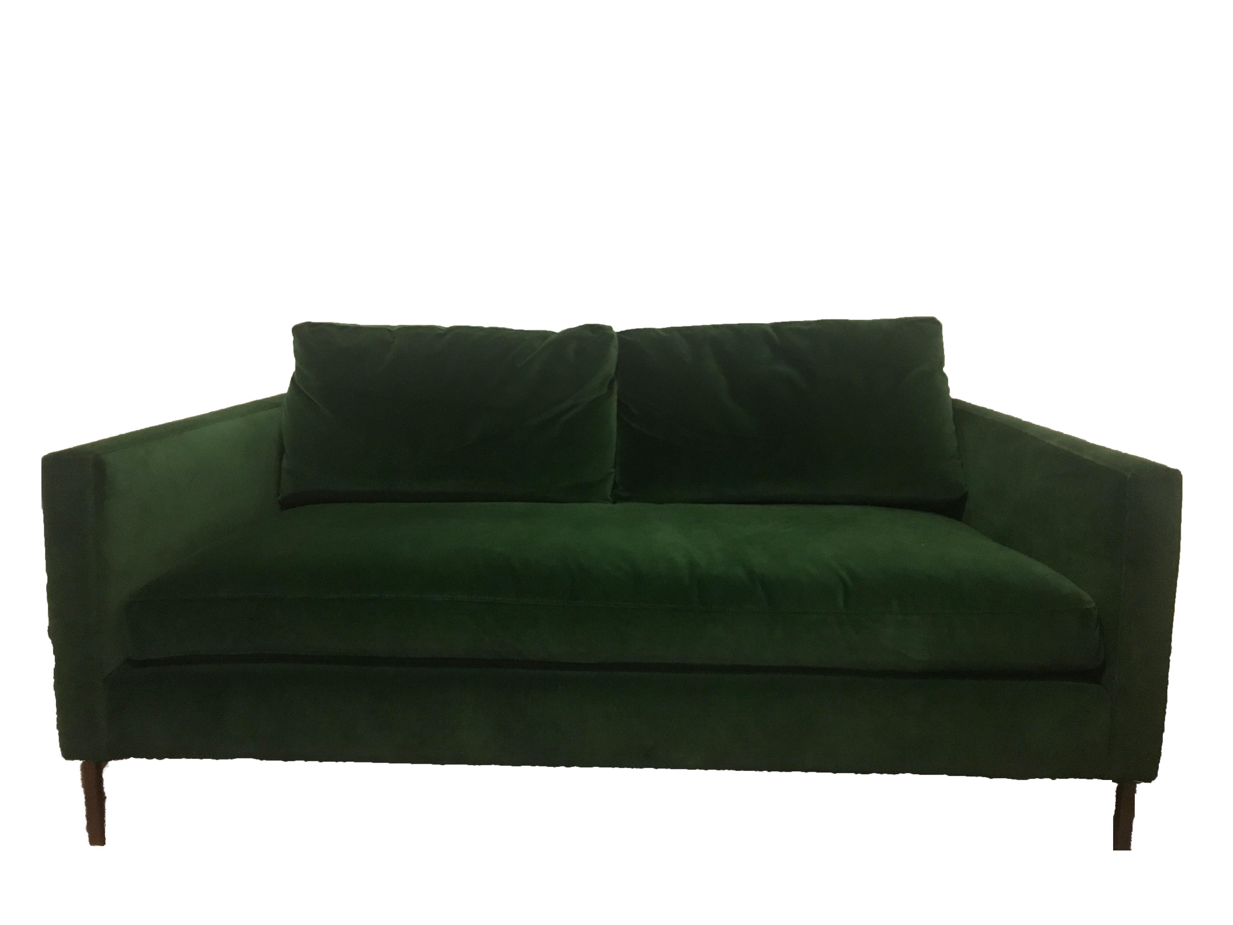 green emerald coach costco stationary couch plush loveseat beachbody pillow casual pay velvet sofa