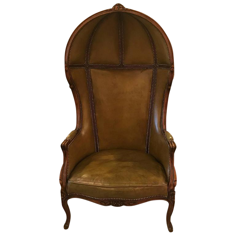 Louis XV Style Carved Beechwood U0026 Leather Porter Chair