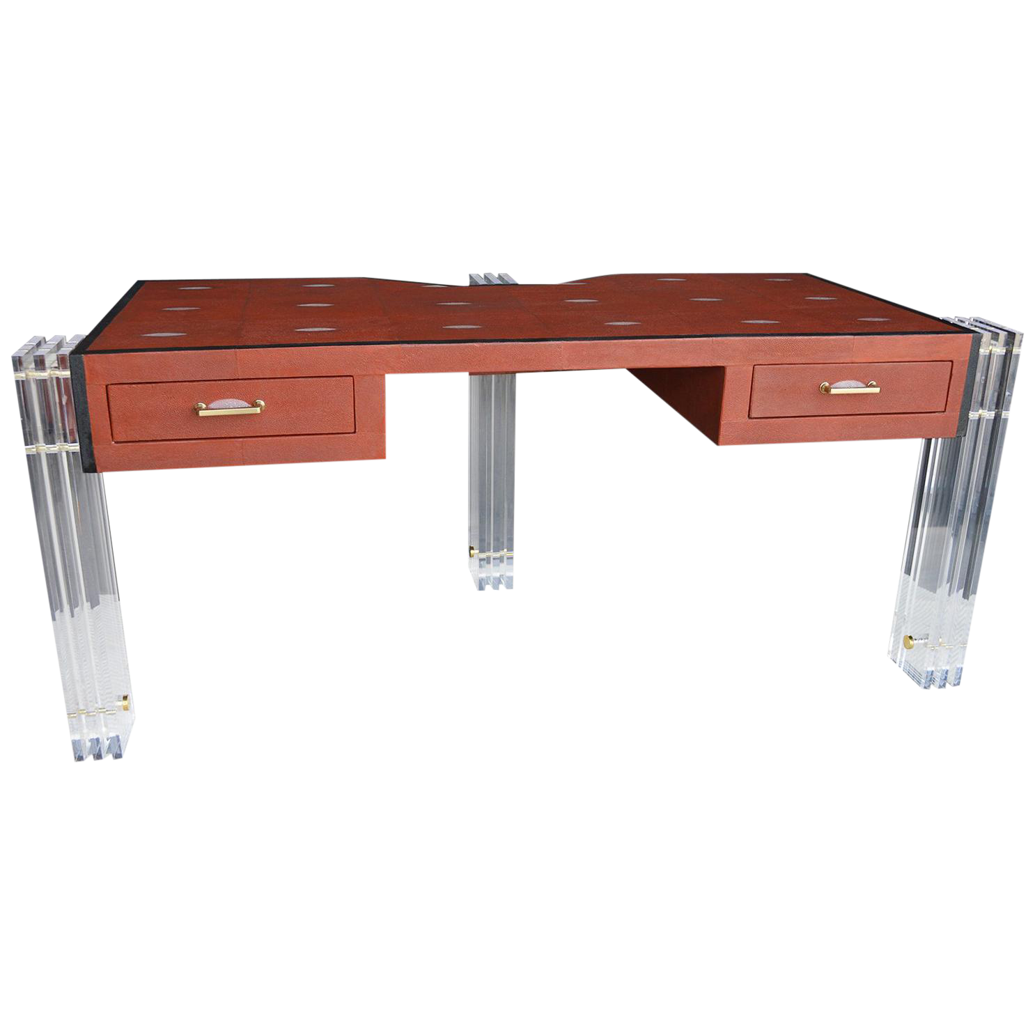 Red Shagreen And Lucite Desk Chairish