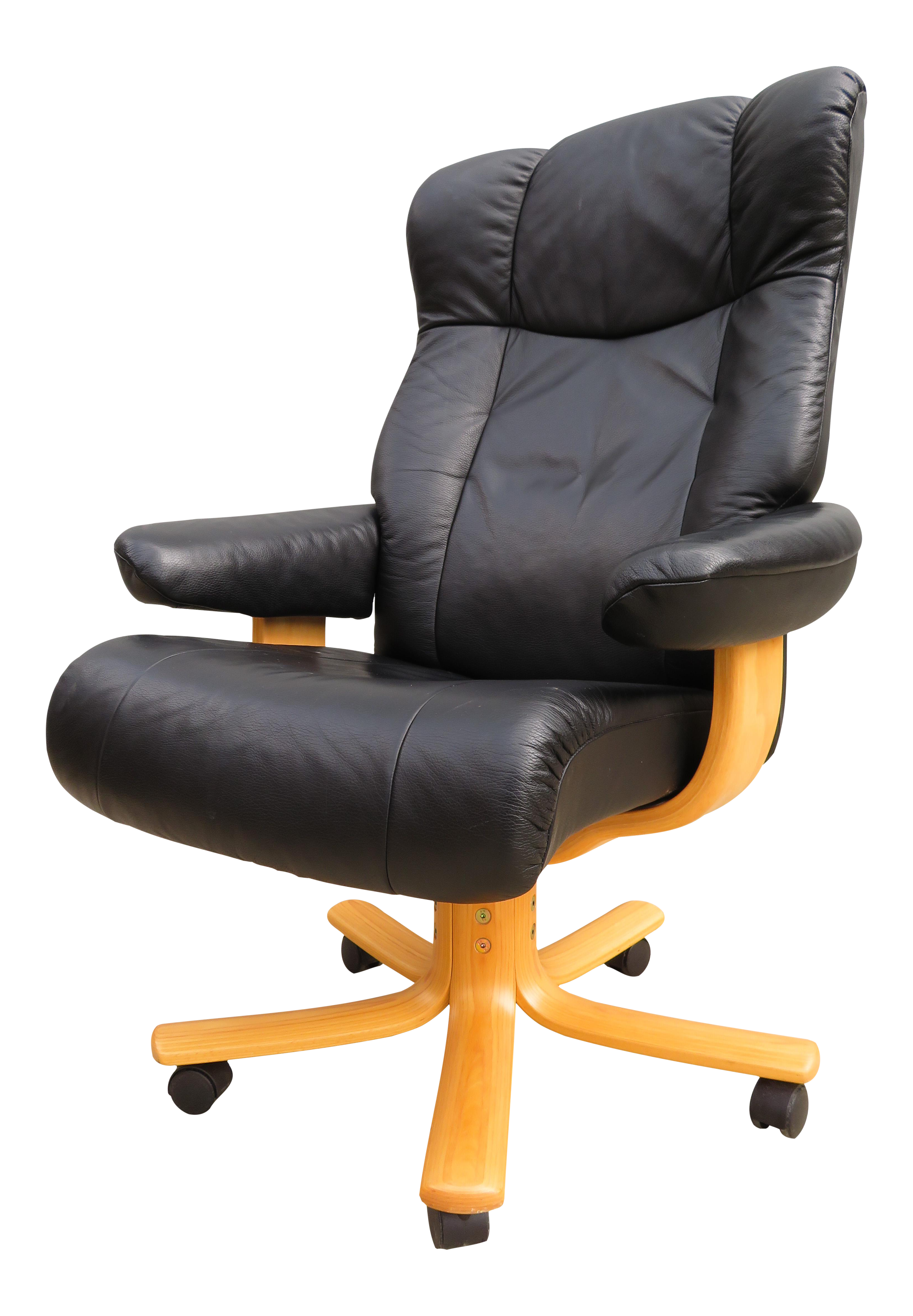 Image of: Vintage Norwegian Hjellegjerde Mobler Leather Executive Desk Chair Chairish