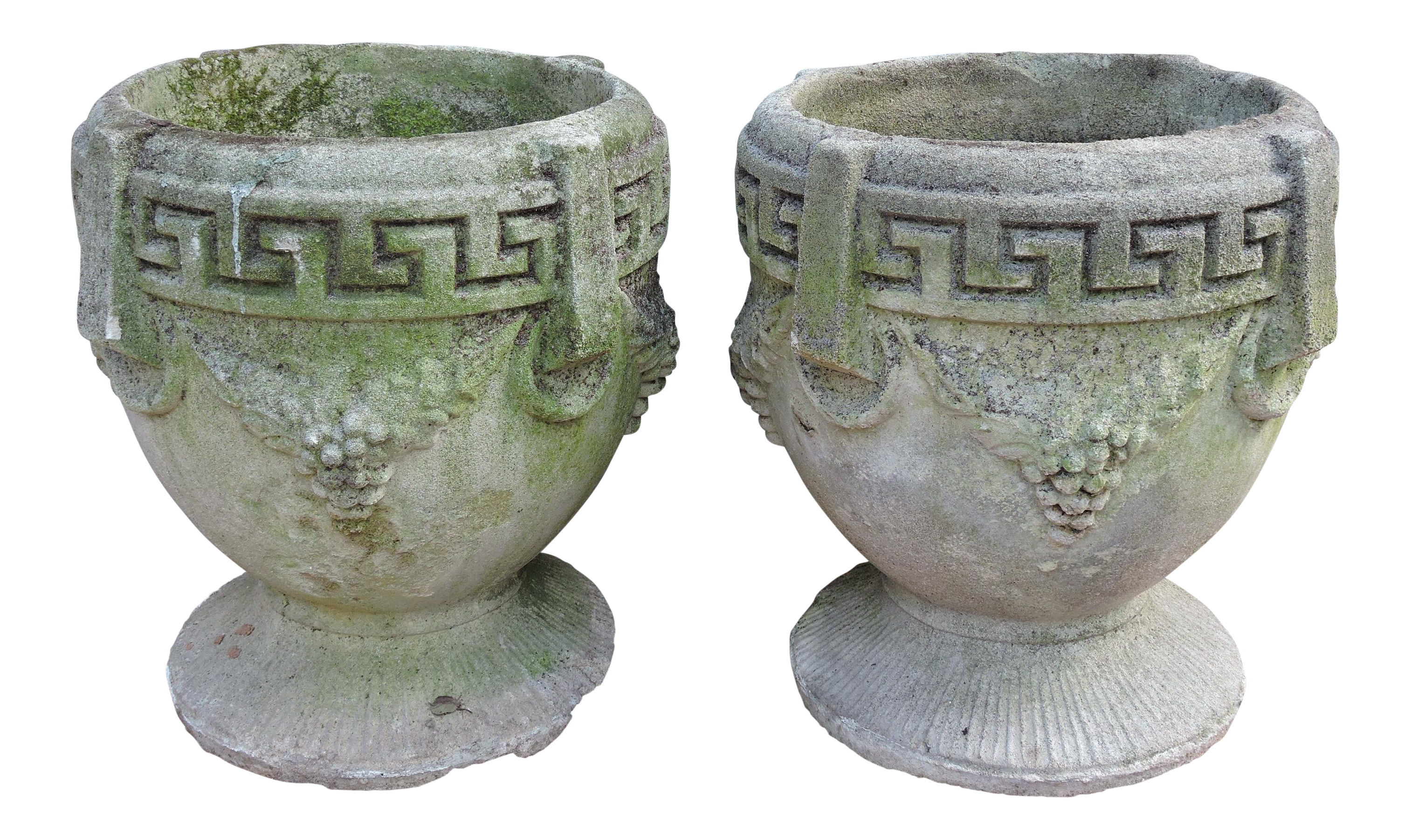 Vintage Greek Style Concrete Garden Planters or Urns a Pair