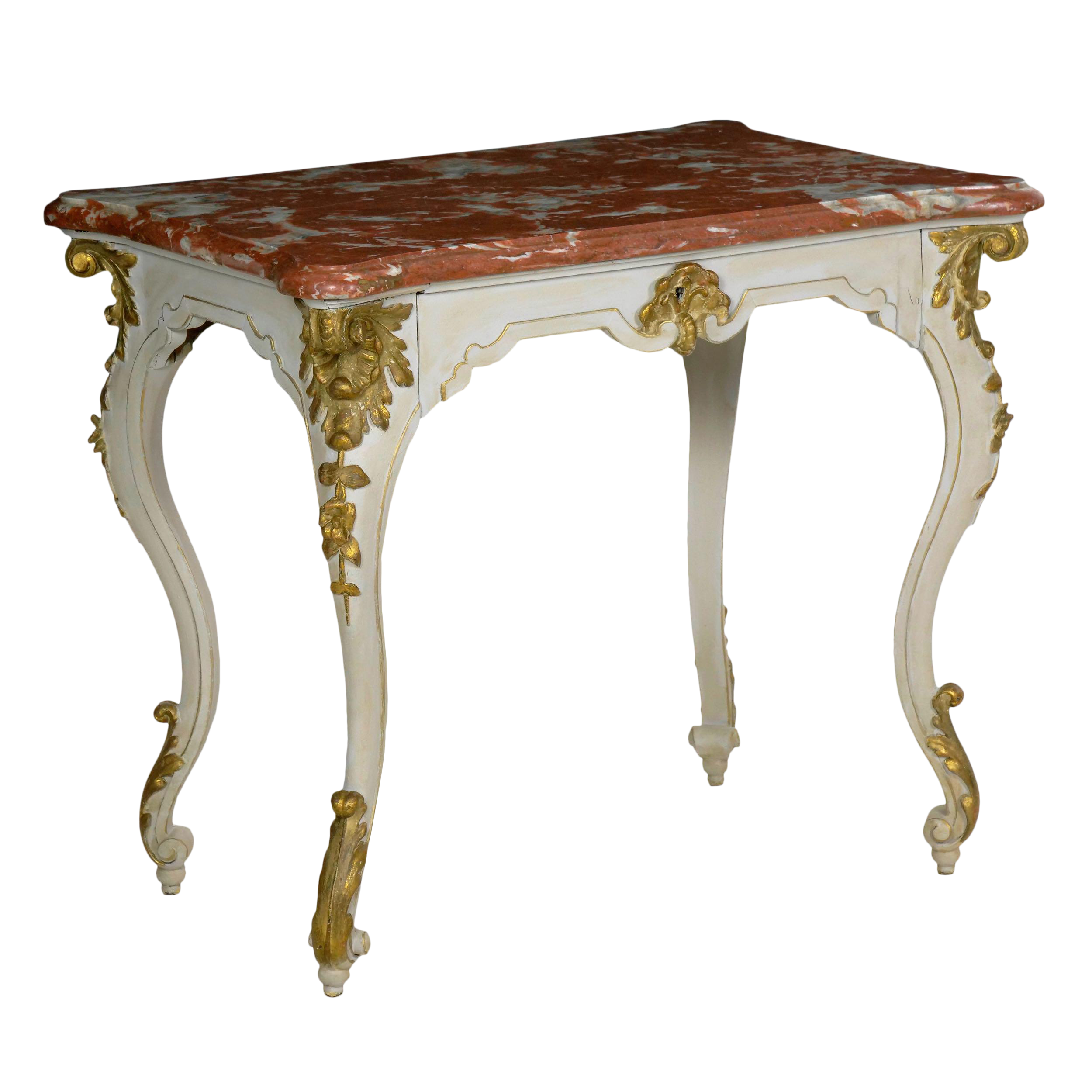 - Italian Rococo Painted Antique Accent Console Table In Venetian